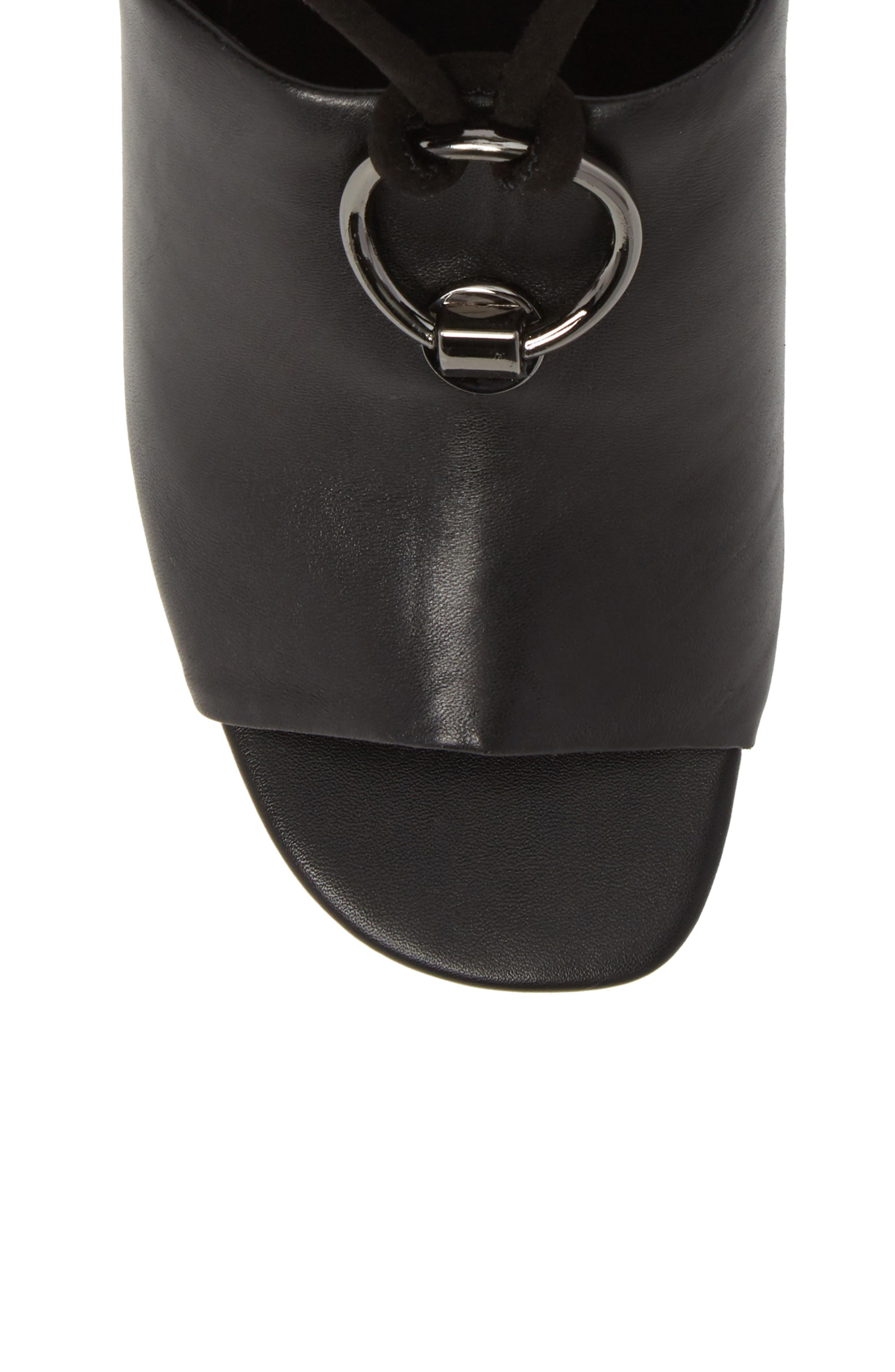 Mason Ankle Tie Sandal,                             Alternate thumbnail 5, color,                             BLACK LEATHER