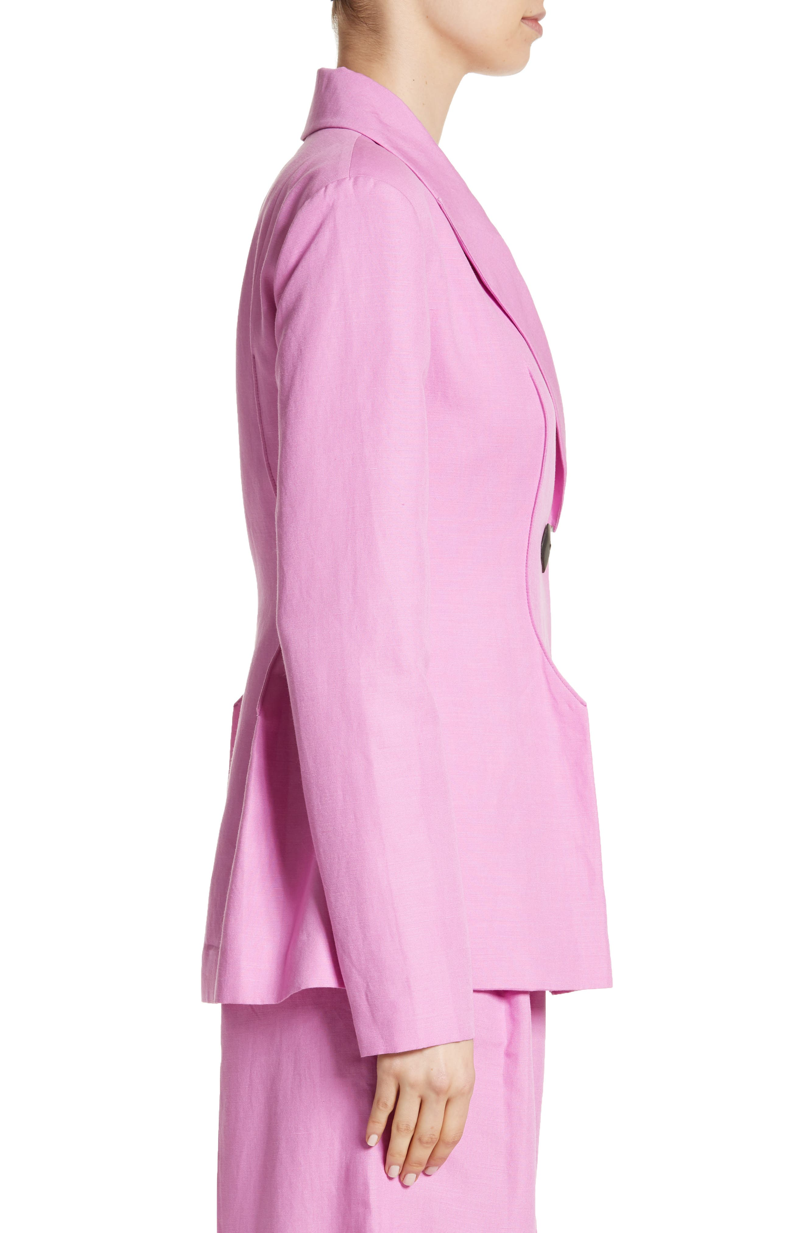 Double Breasted Jacket,                             Alternate thumbnail 3, color,                             LINEN TAFFY PINK