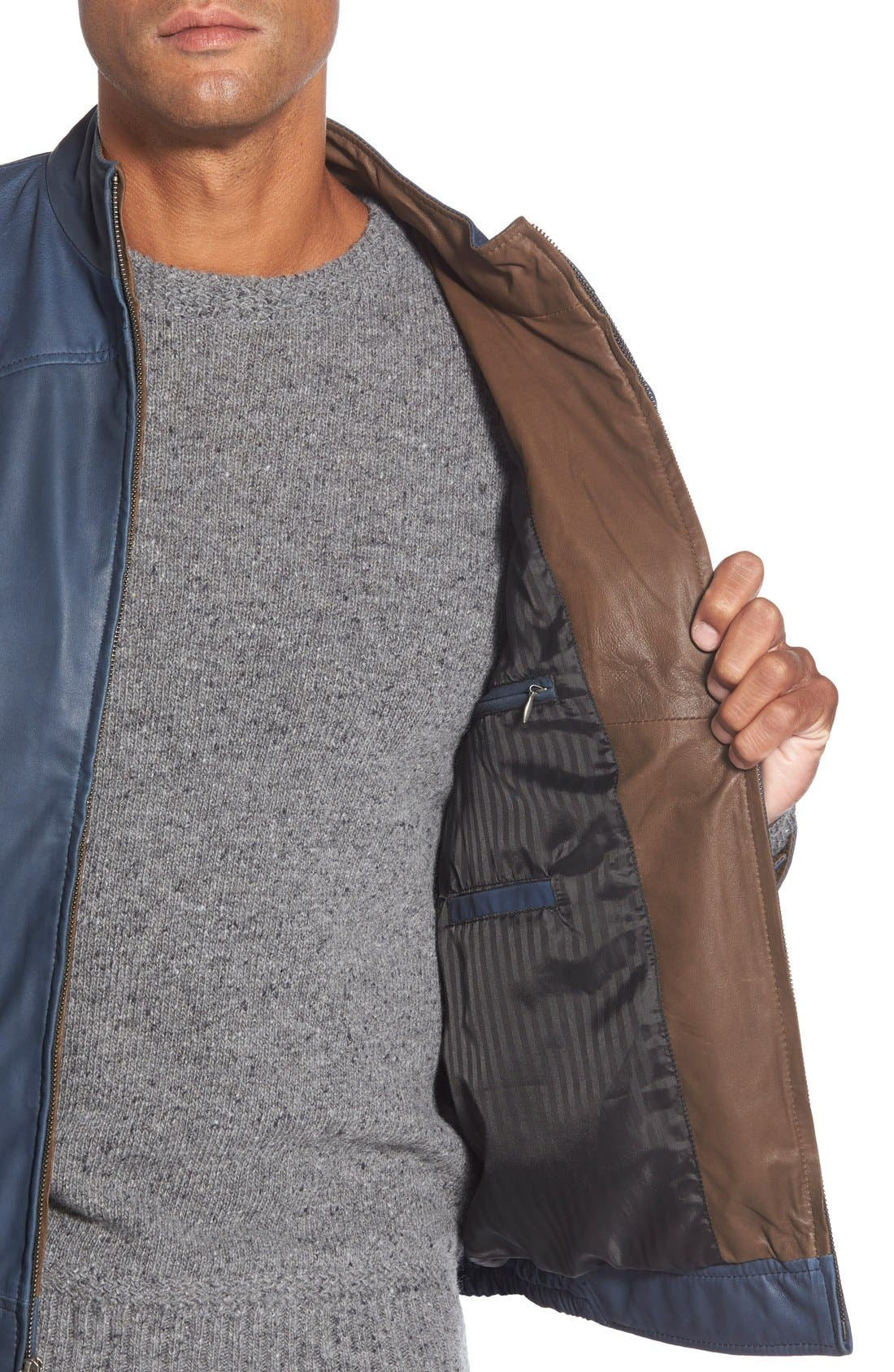Leather Bomber Jacket,                             Alternate thumbnail 13, color,