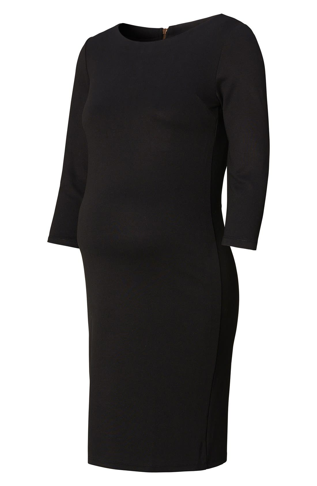 Maternity Dress,                             Alternate thumbnail 2, color,                             BLACK