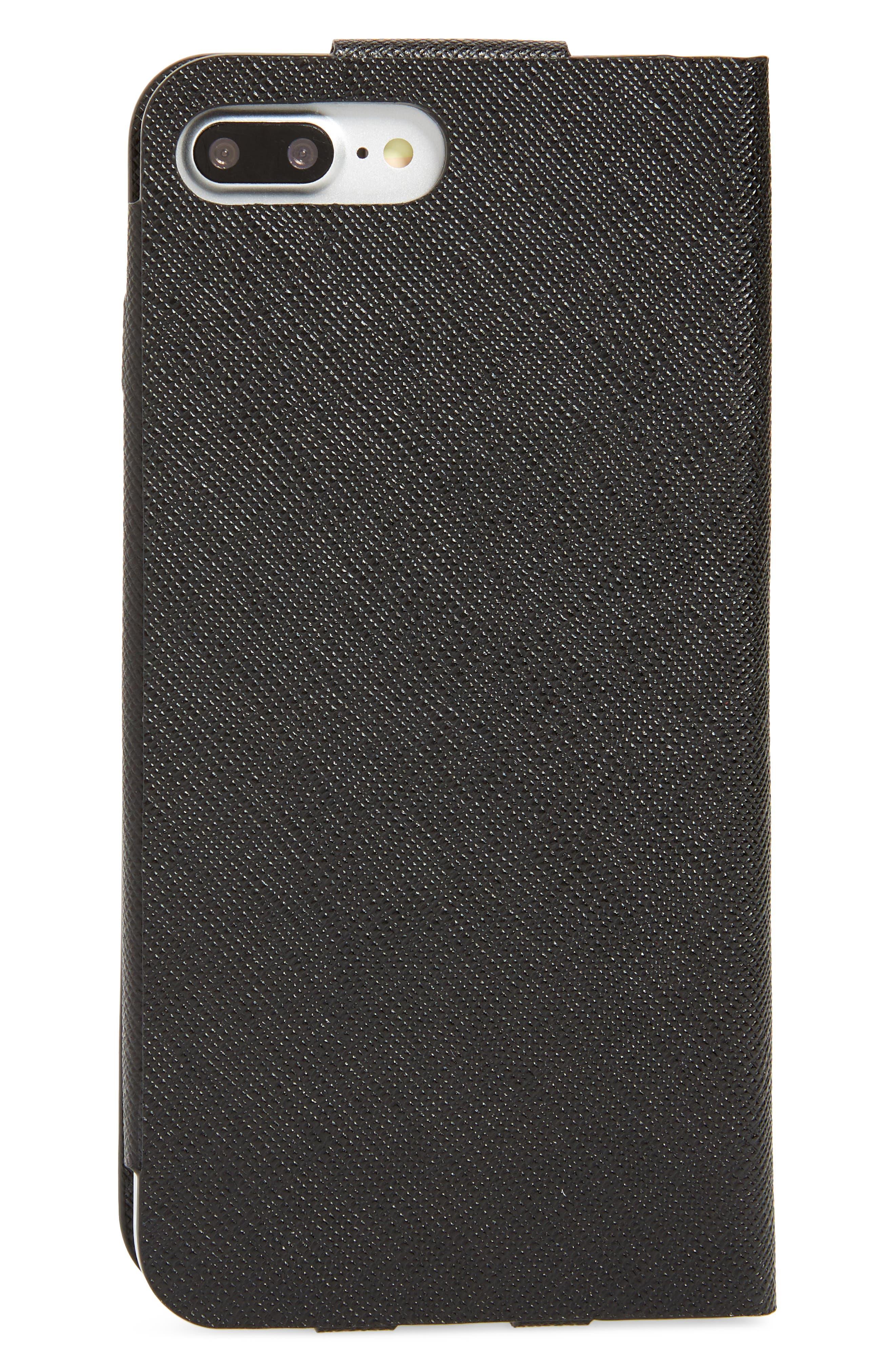 Saffiano Metal Oro Book iPhone 7 Plus Wallet,                             Alternate thumbnail 3, color,                             001
