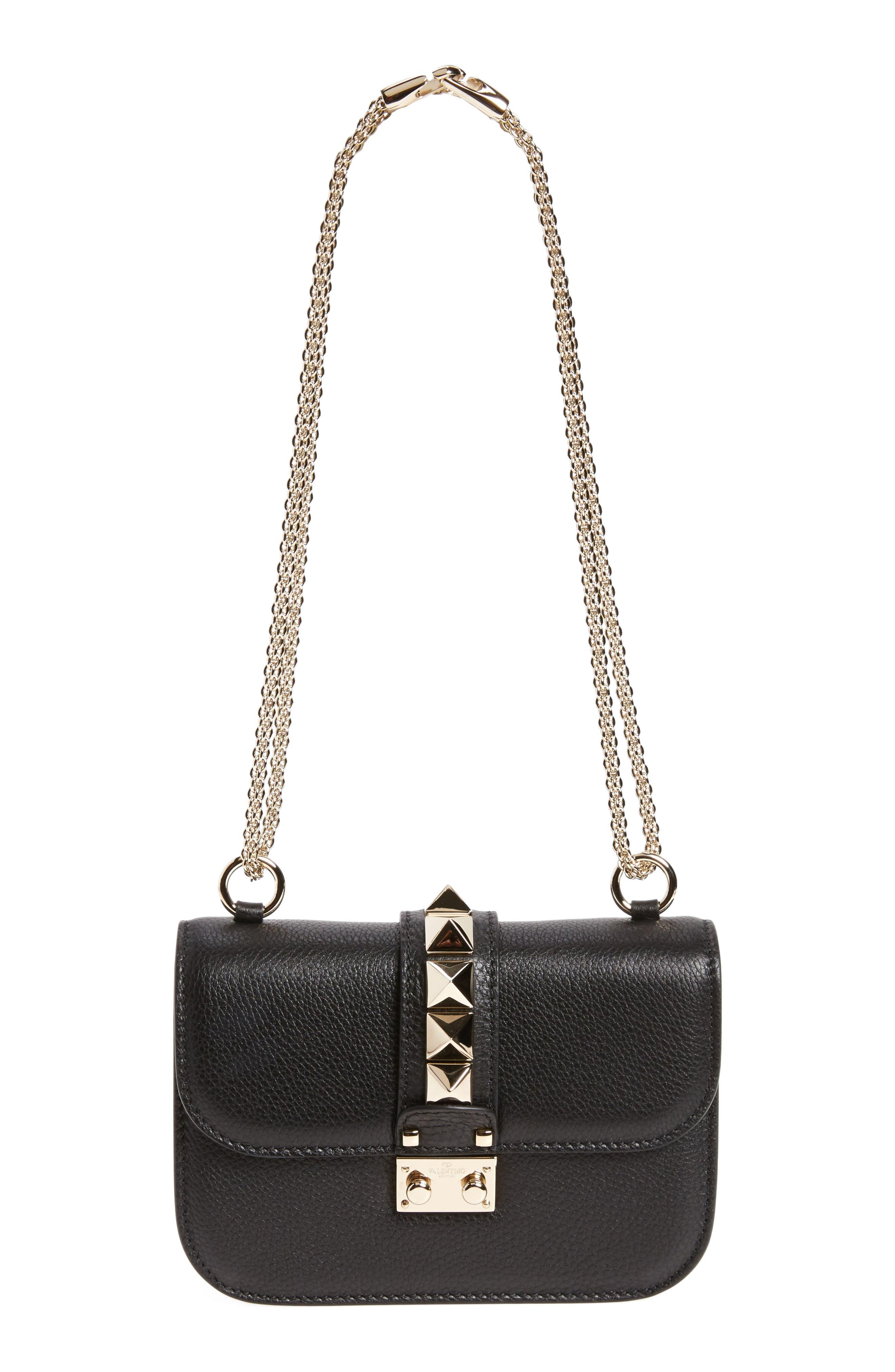 Rockstud - Small Lock Leather Crossbody Bag,                             Main thumbnail 1, color,                             NERO