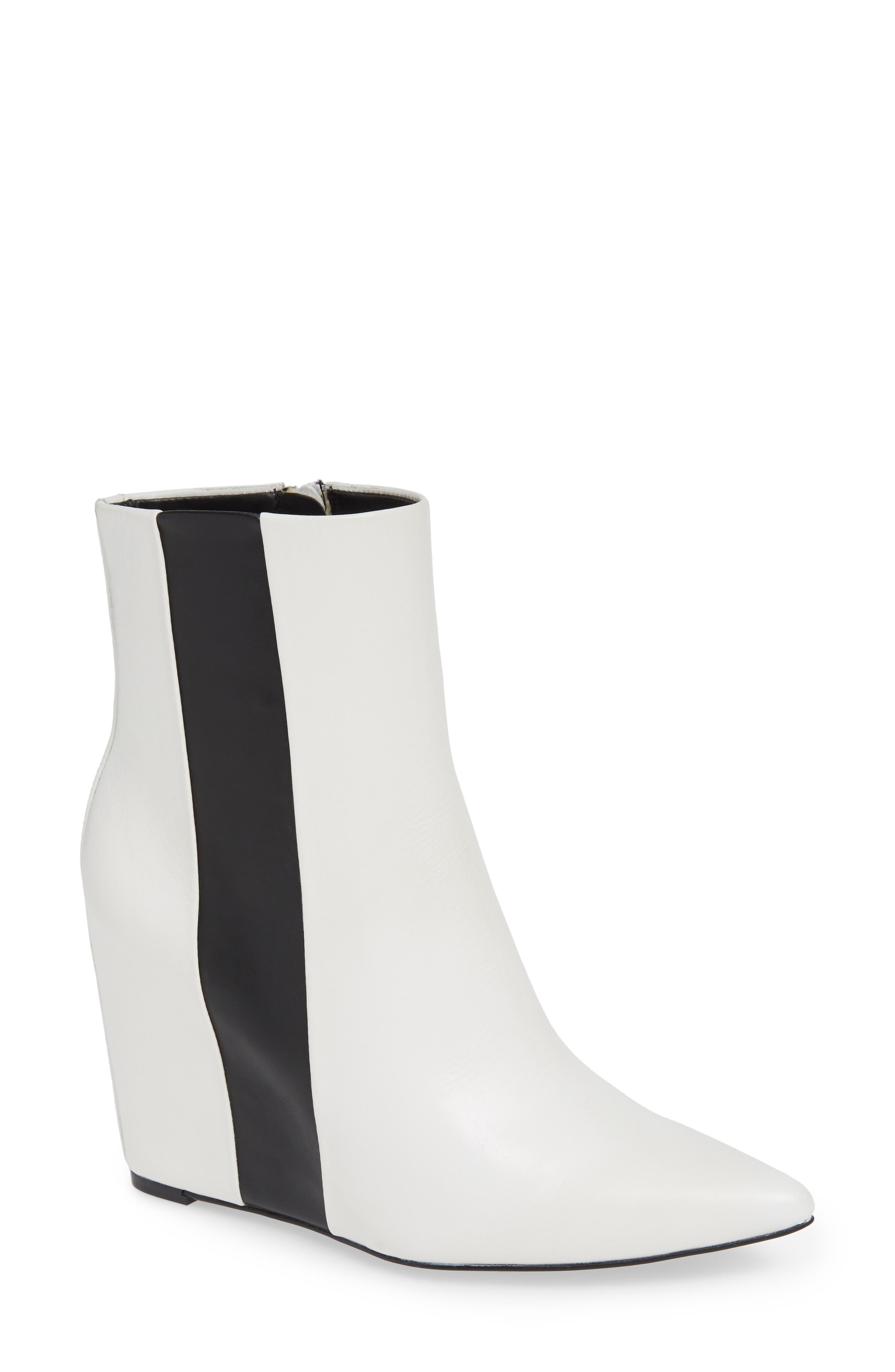 Calvin Klein Yvania Stripe Wedge Bootie, White
