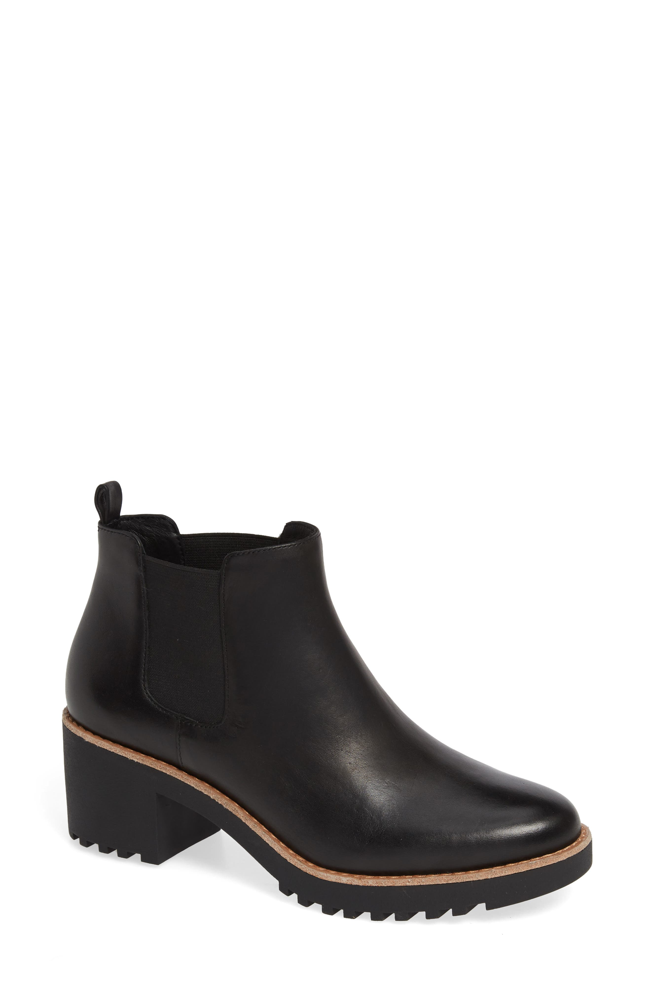 Joshua Water Resistant Bootie,                             Main thumbnail 1, color,                             BLACK LEATHER