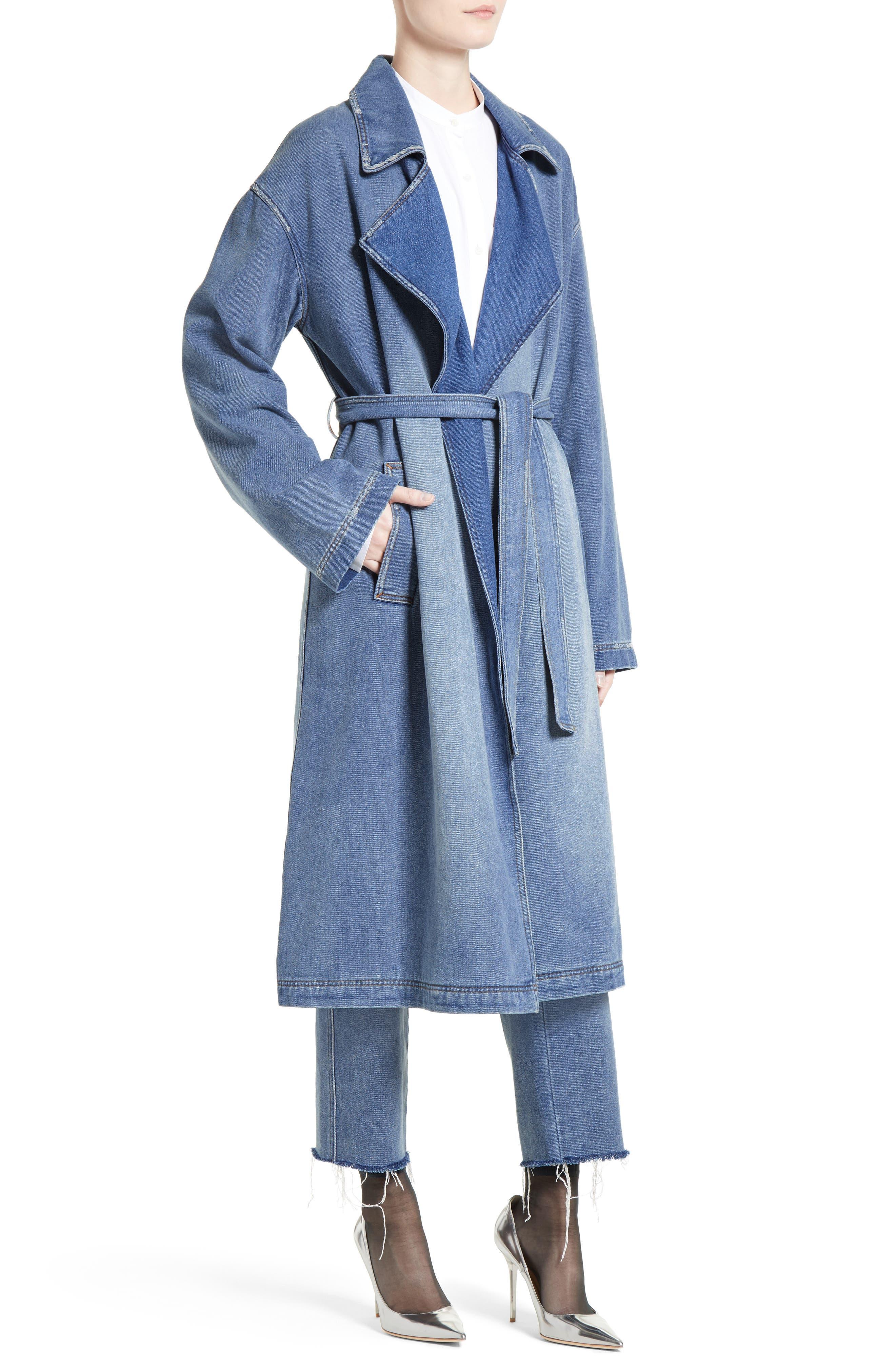 Denim Trench Coat,                             Alternate thumbnail 4, color,                             420