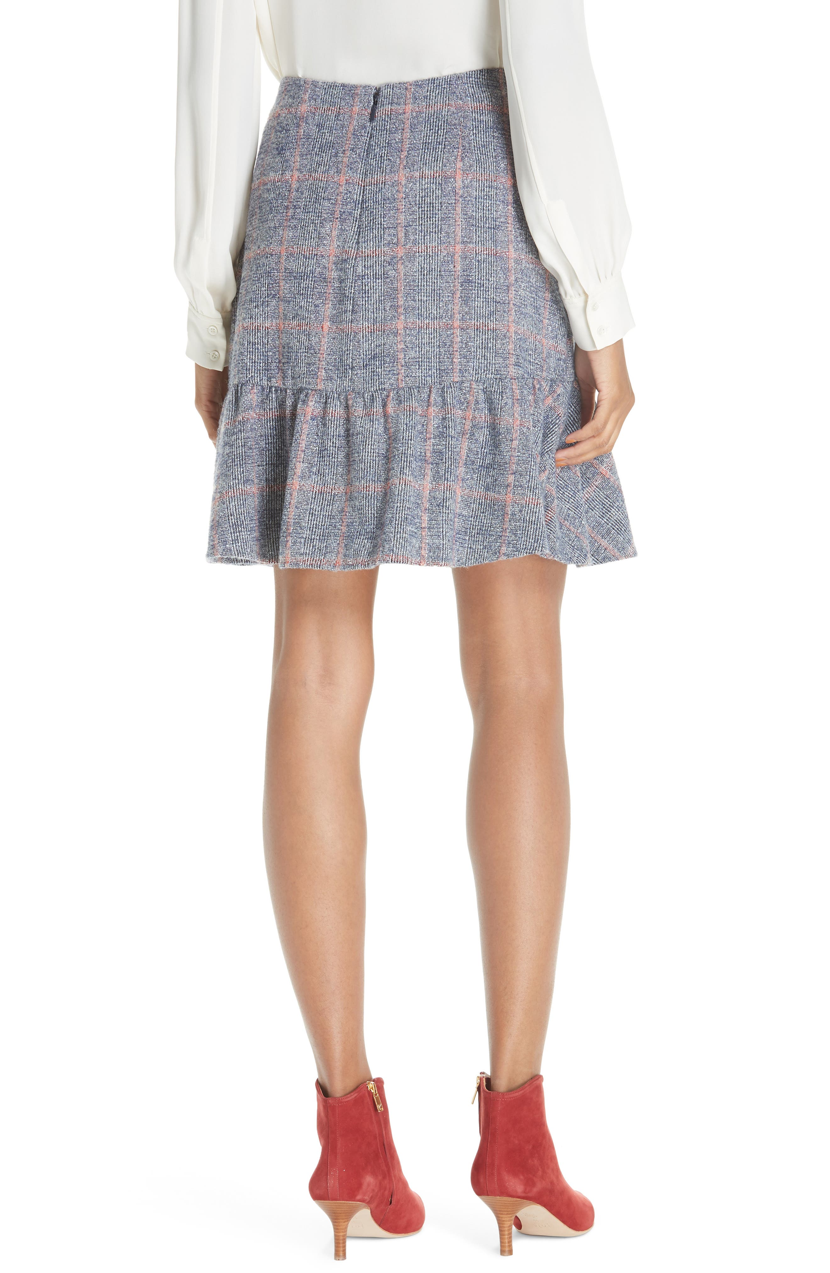 Cotton Wool Blend Plaid Ruffle Mini Skirt,                             Alternate thumbnail 2, color,                             482