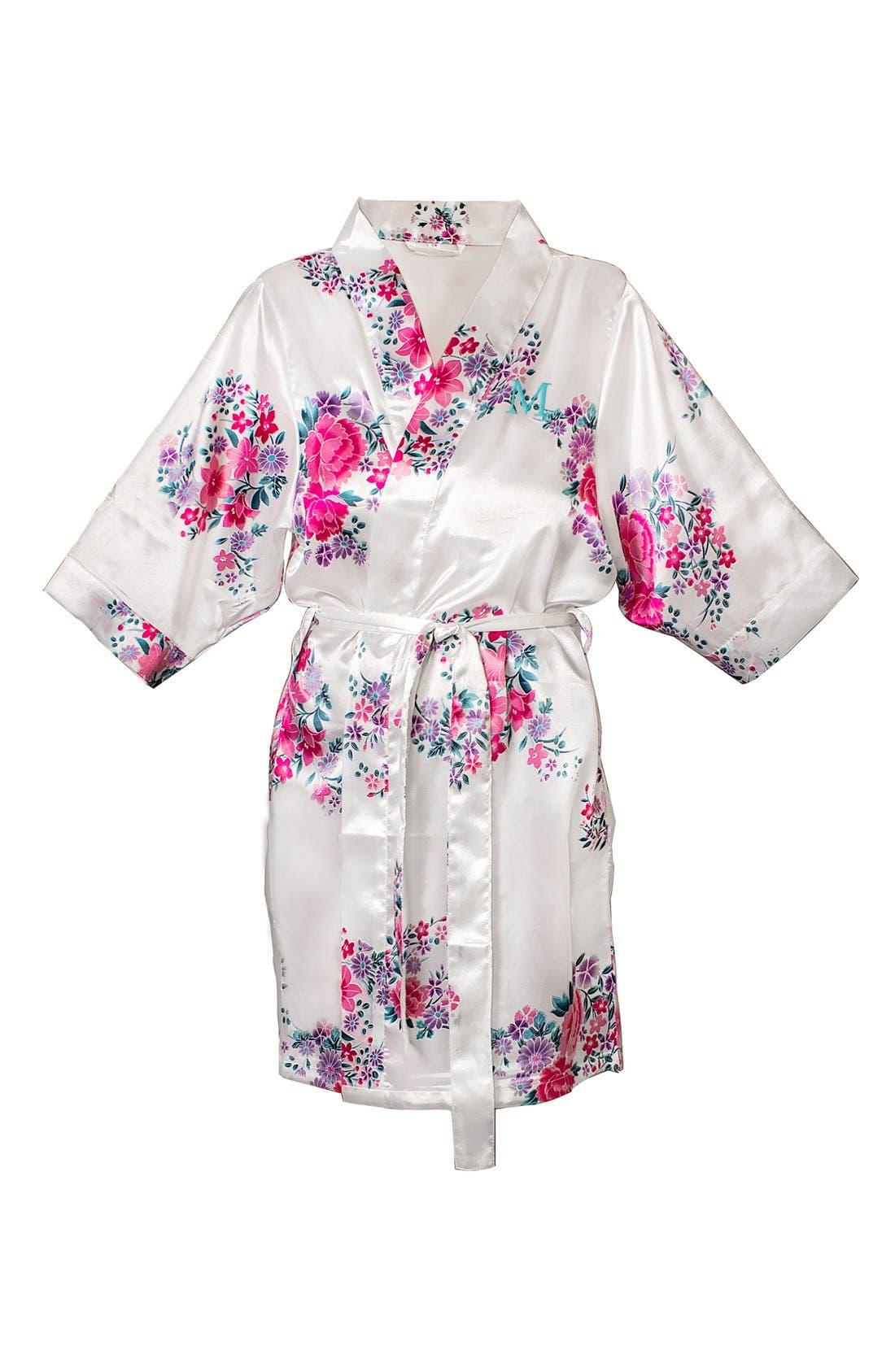 Monogram Floral Satin Robe,                             Main thumbnail 41, color,