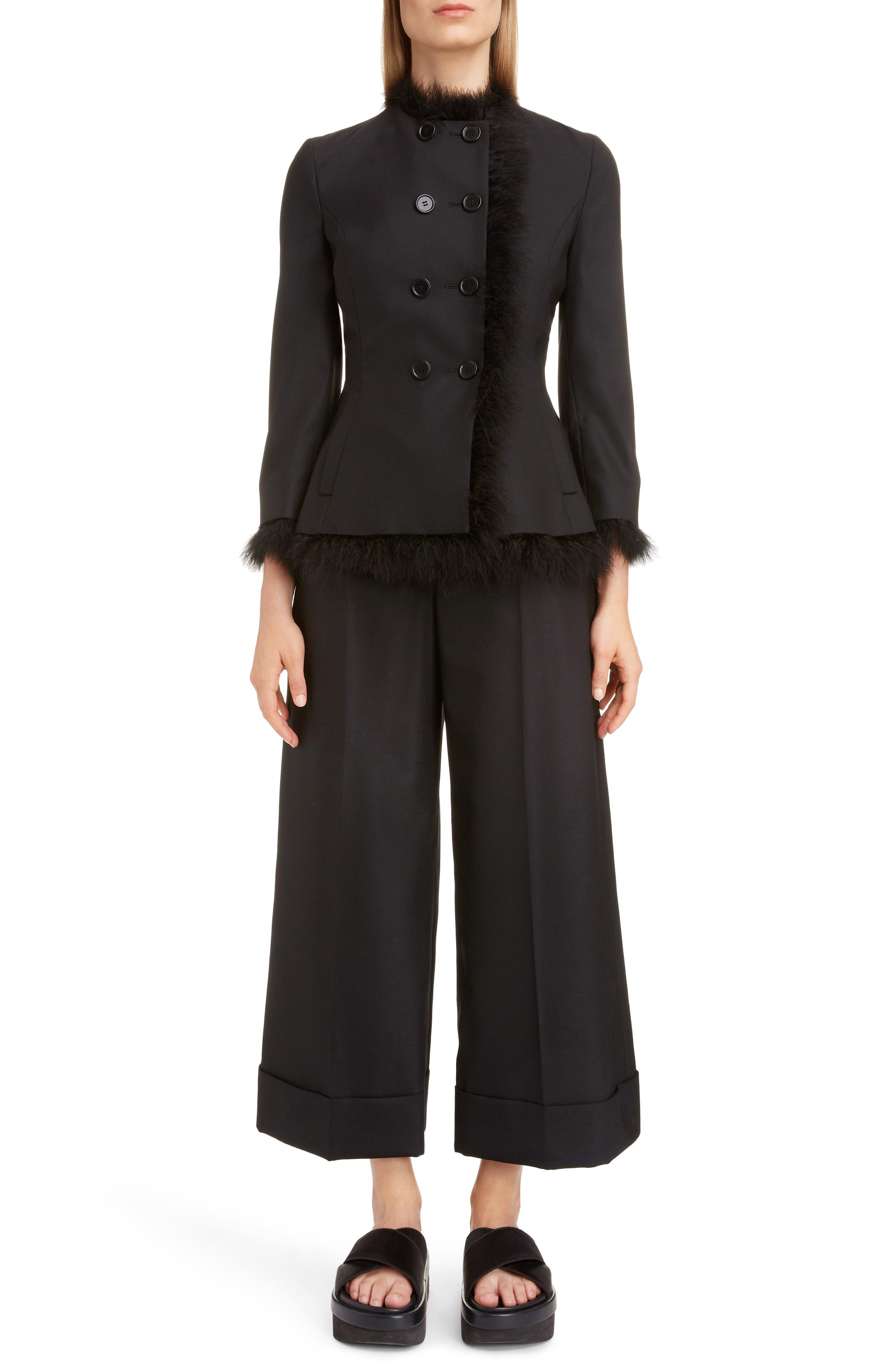 SIMONE ROCHA,                             Marabou Trim Double Breasted Stretch Wool Jacket,                             Alternate thumbnail 6, color,                             BLACK