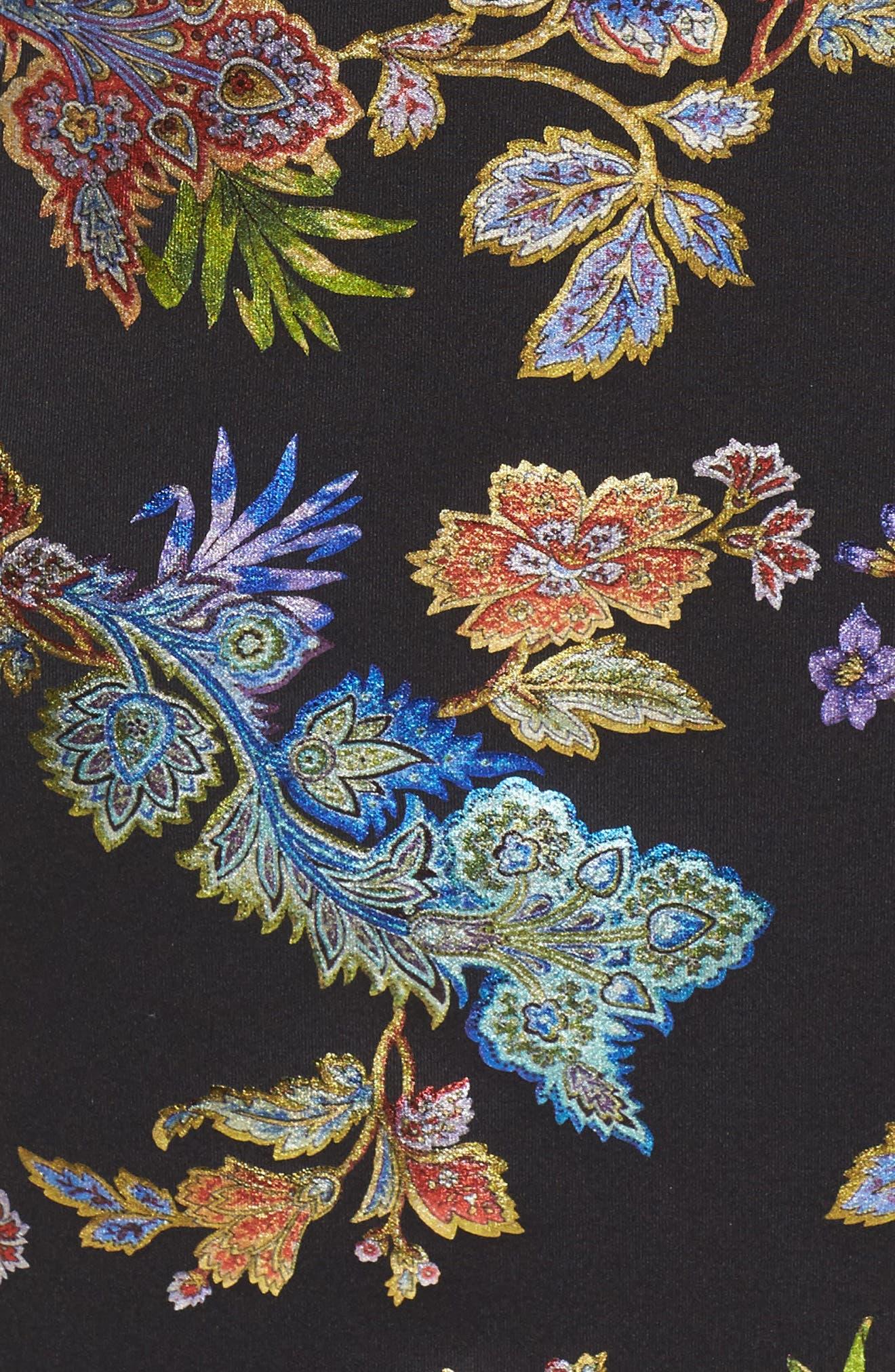 Foil Print Sheath Dress,                             Alternate thumbnail 5, color,