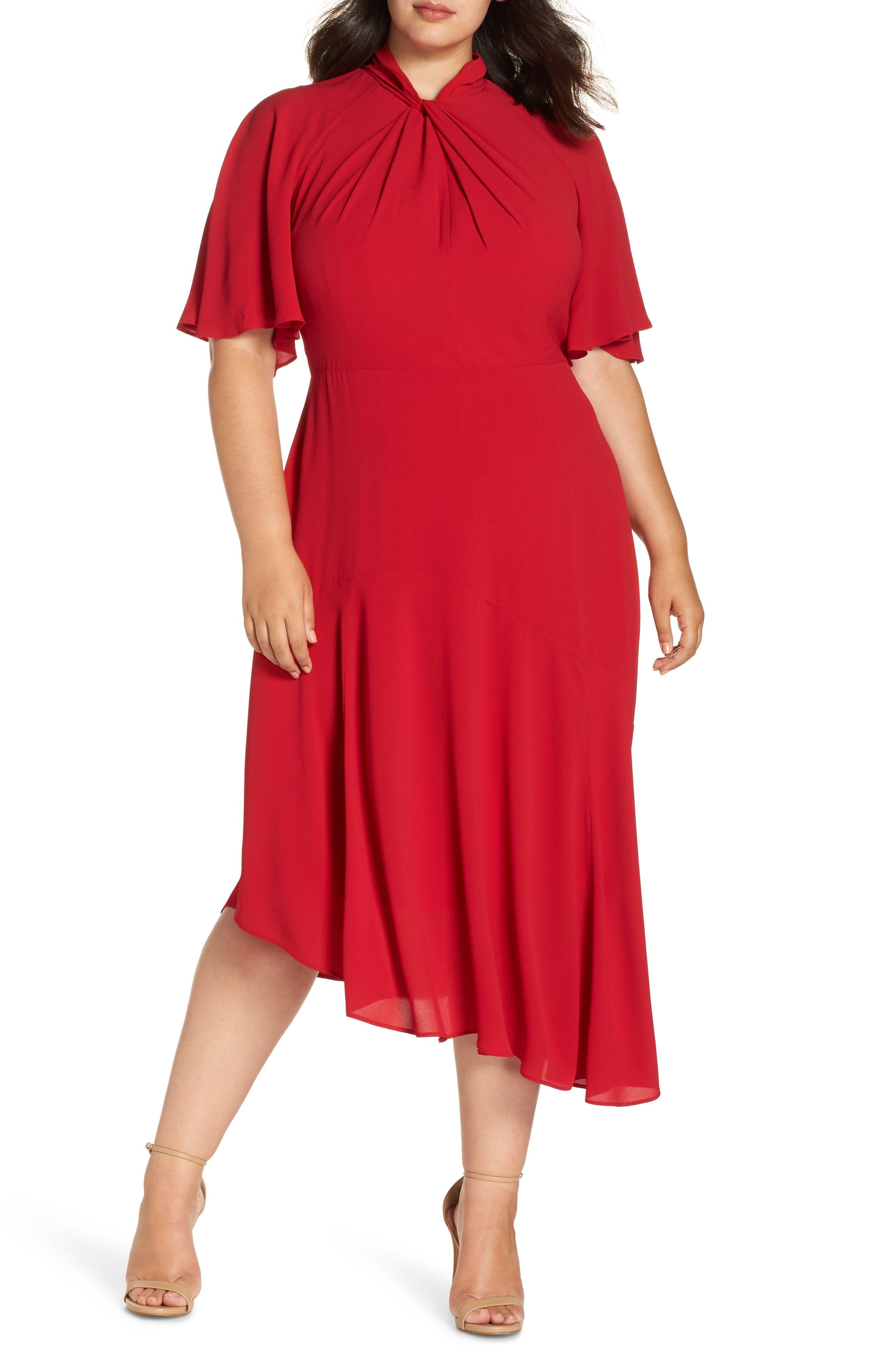 plus size women's maggy london asymmetrical midi dress, size 24w - red