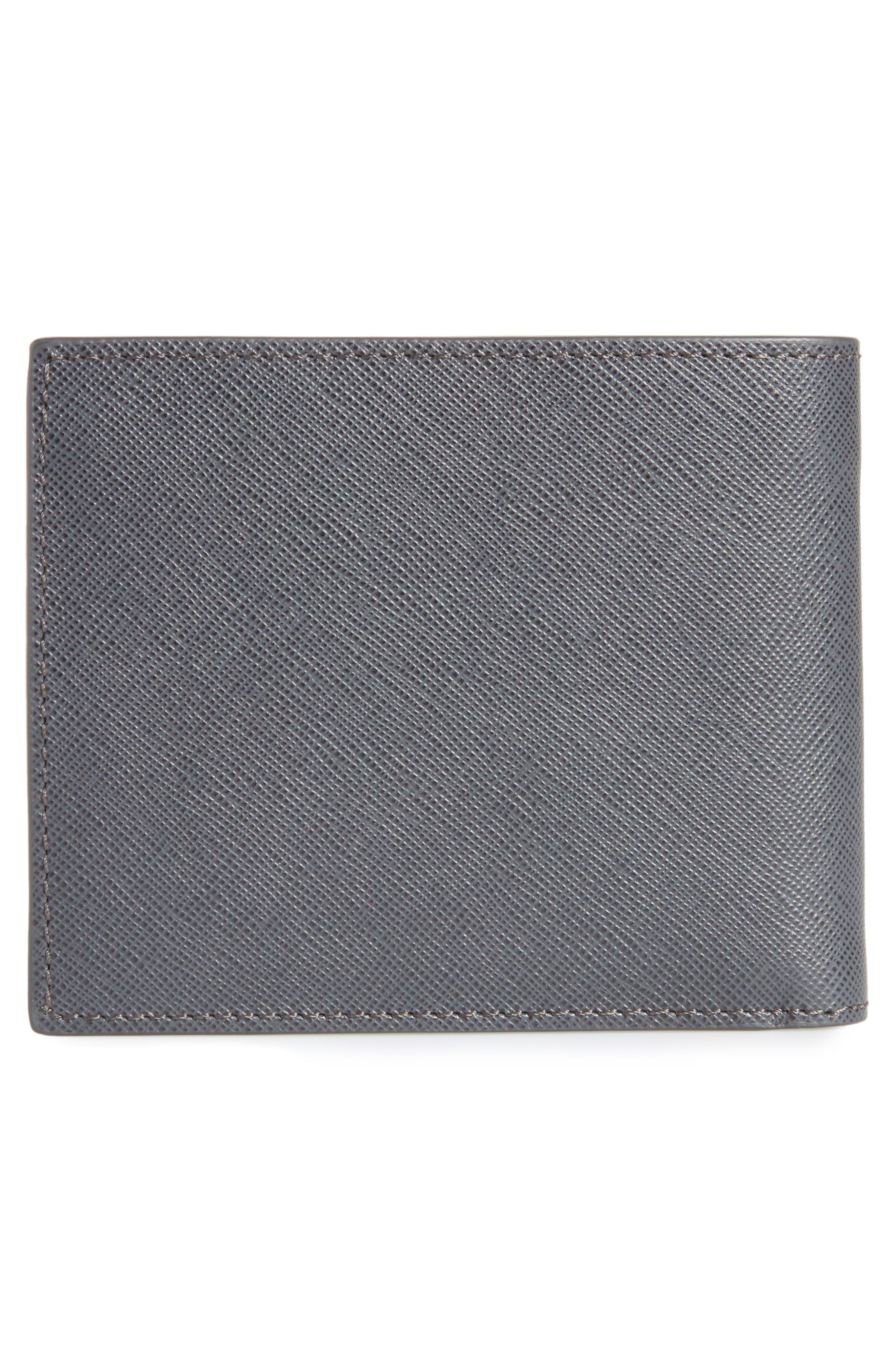 Sartorial Leather Bifold Wallet,                             Alternate thumbnail 3, color,                             DARK GREY