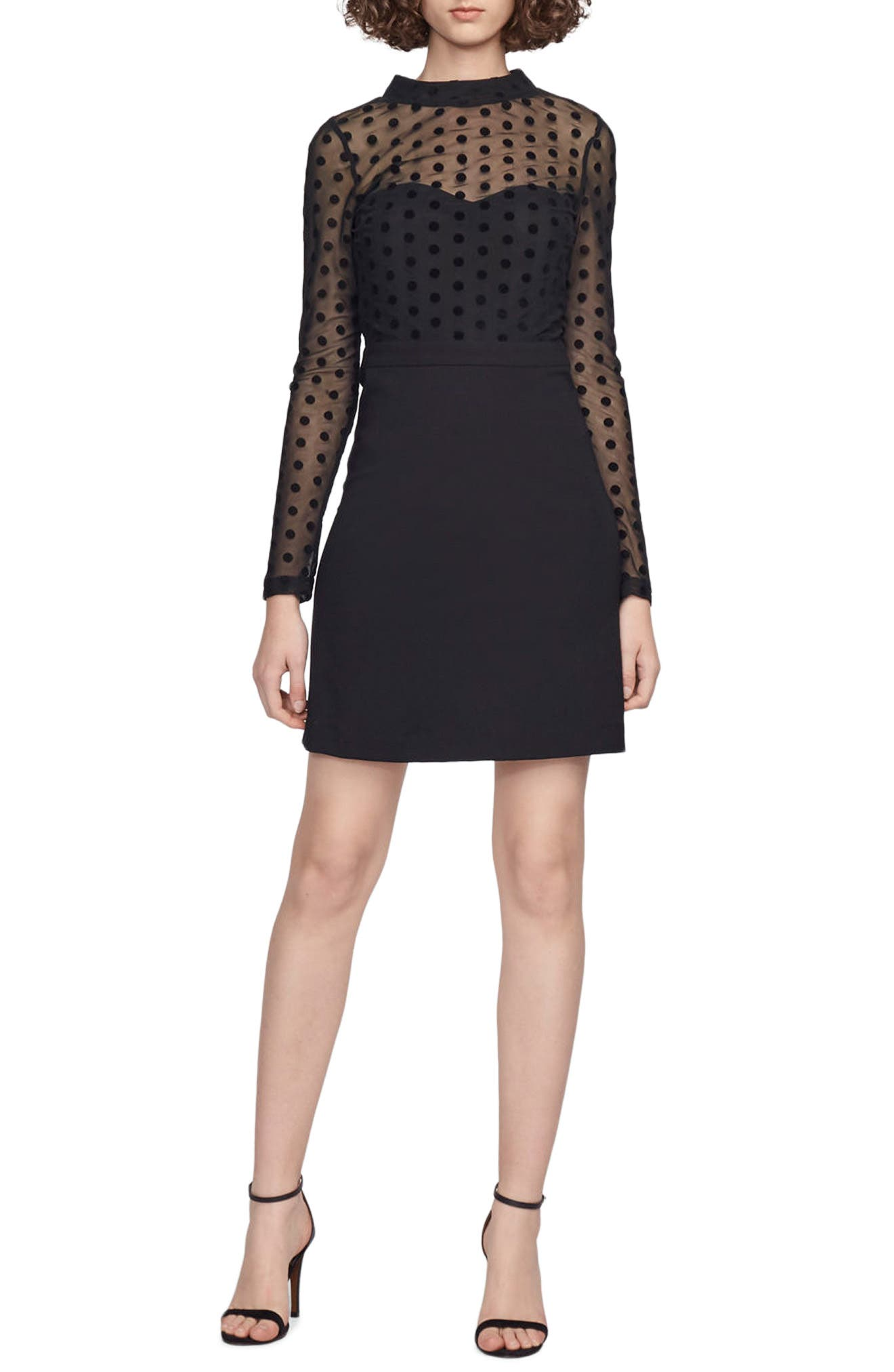 French Connection Leah Mesh & Jersey Minidress, Black