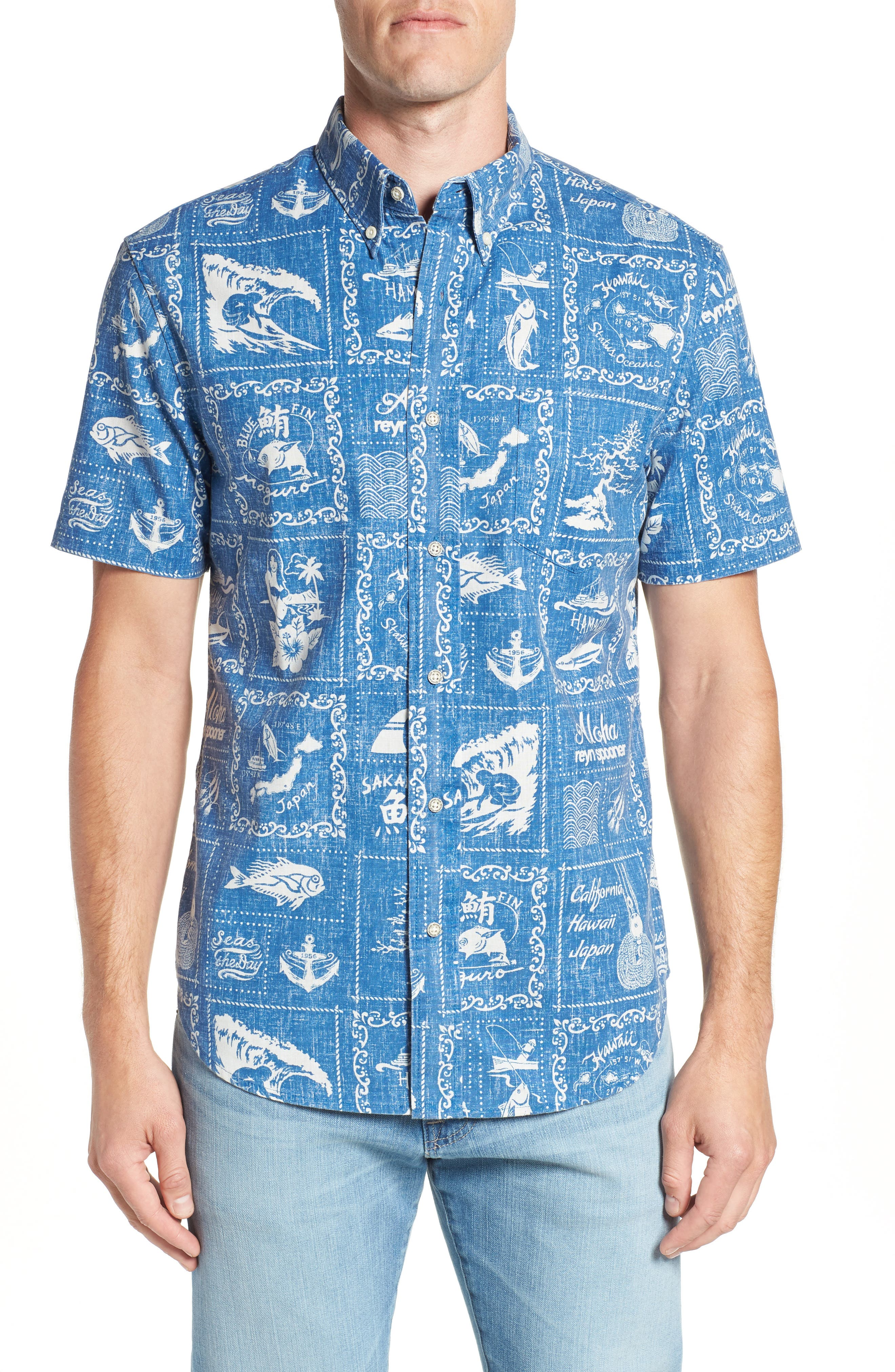 Stories from the East Regular Fit Sport Shirt,                             Main thumbnail 1, color,                             MARINE