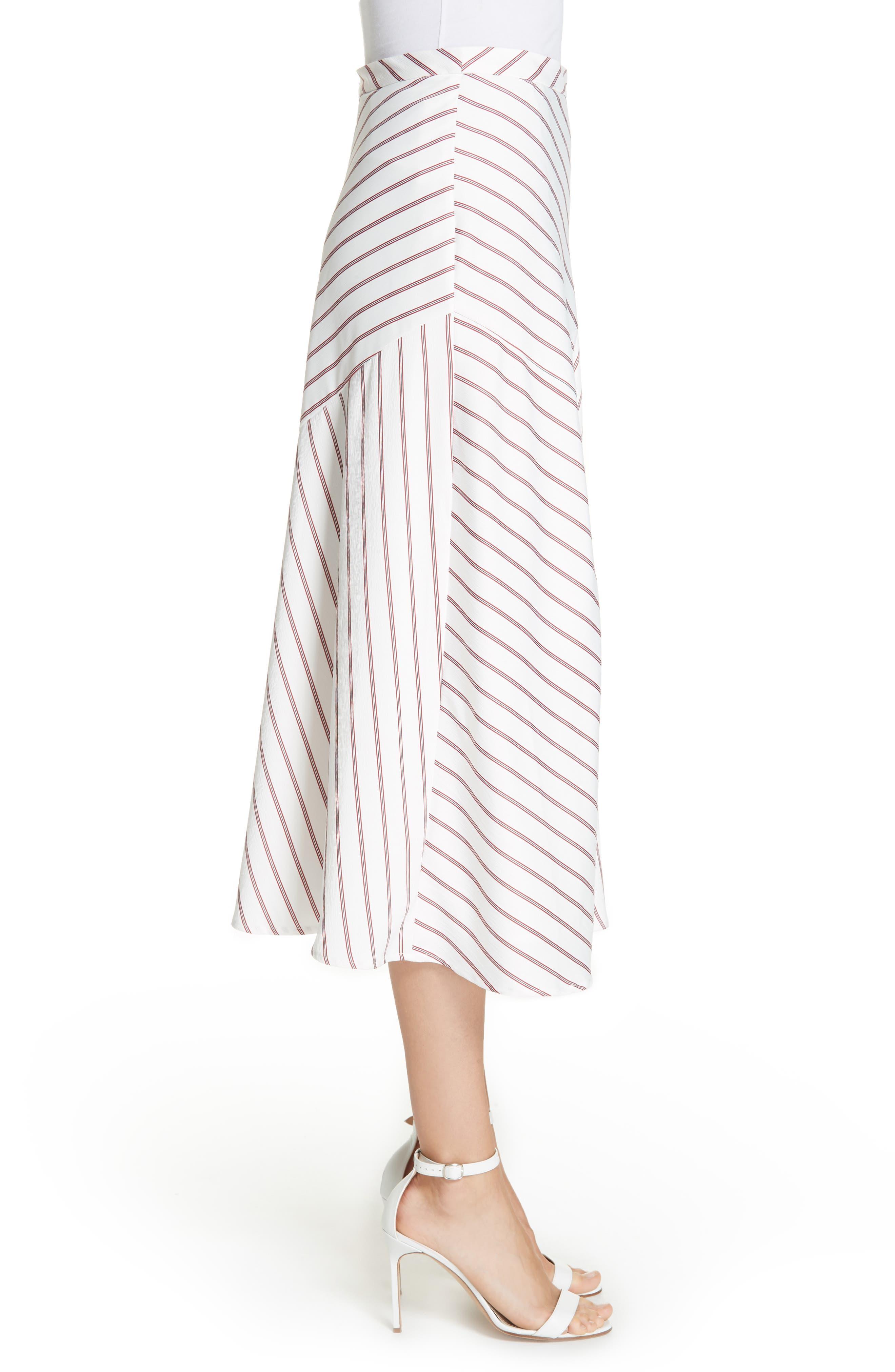 NICHOLAS,                             Stripe Panel Skirt,                             Alternate thumbnail 3, color,                             WHITE/ RED