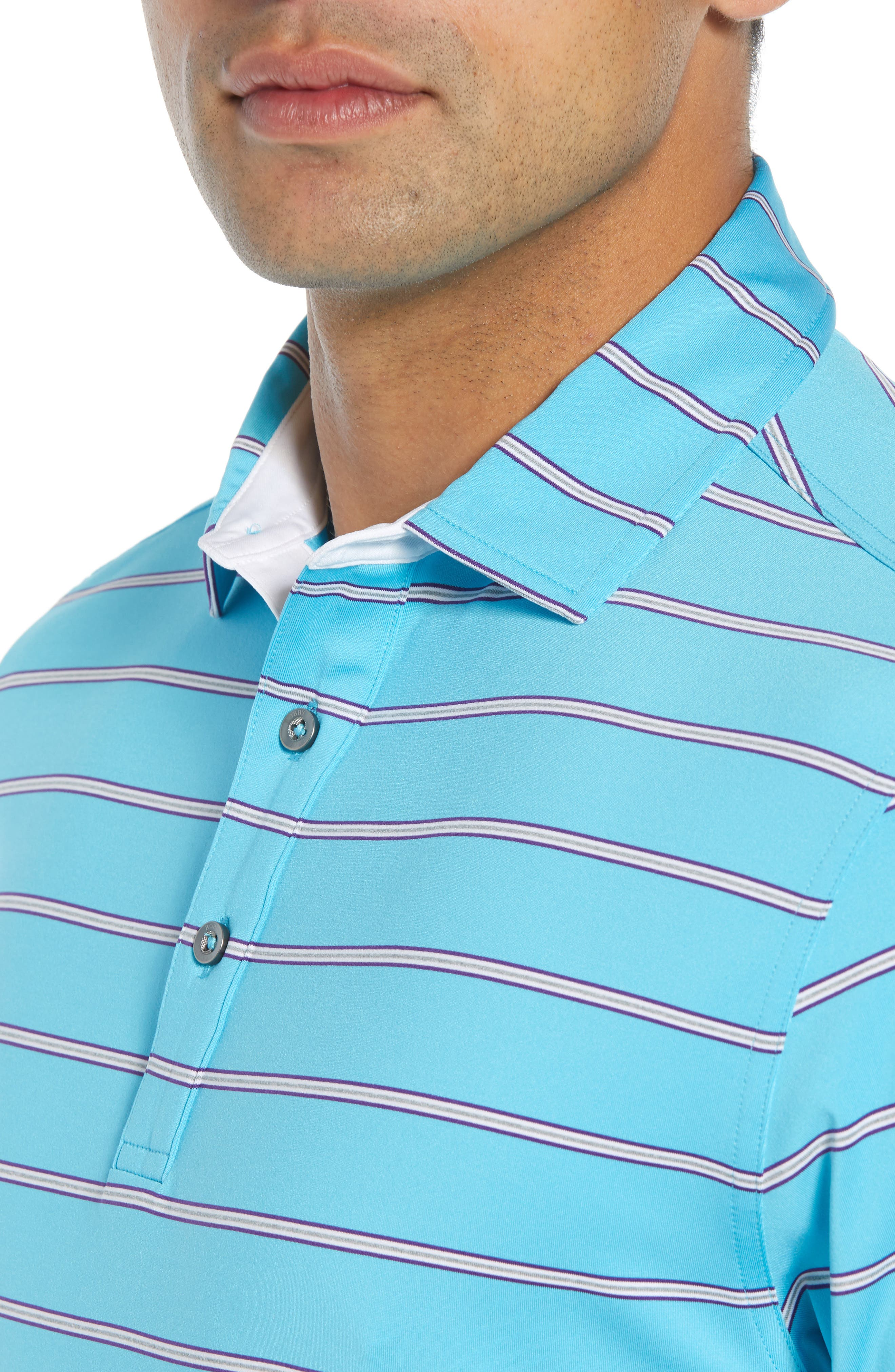 Ferry Stripe Classic Fit Golf Polo,                             Alternate thumbnail 4, color,                             BLUE