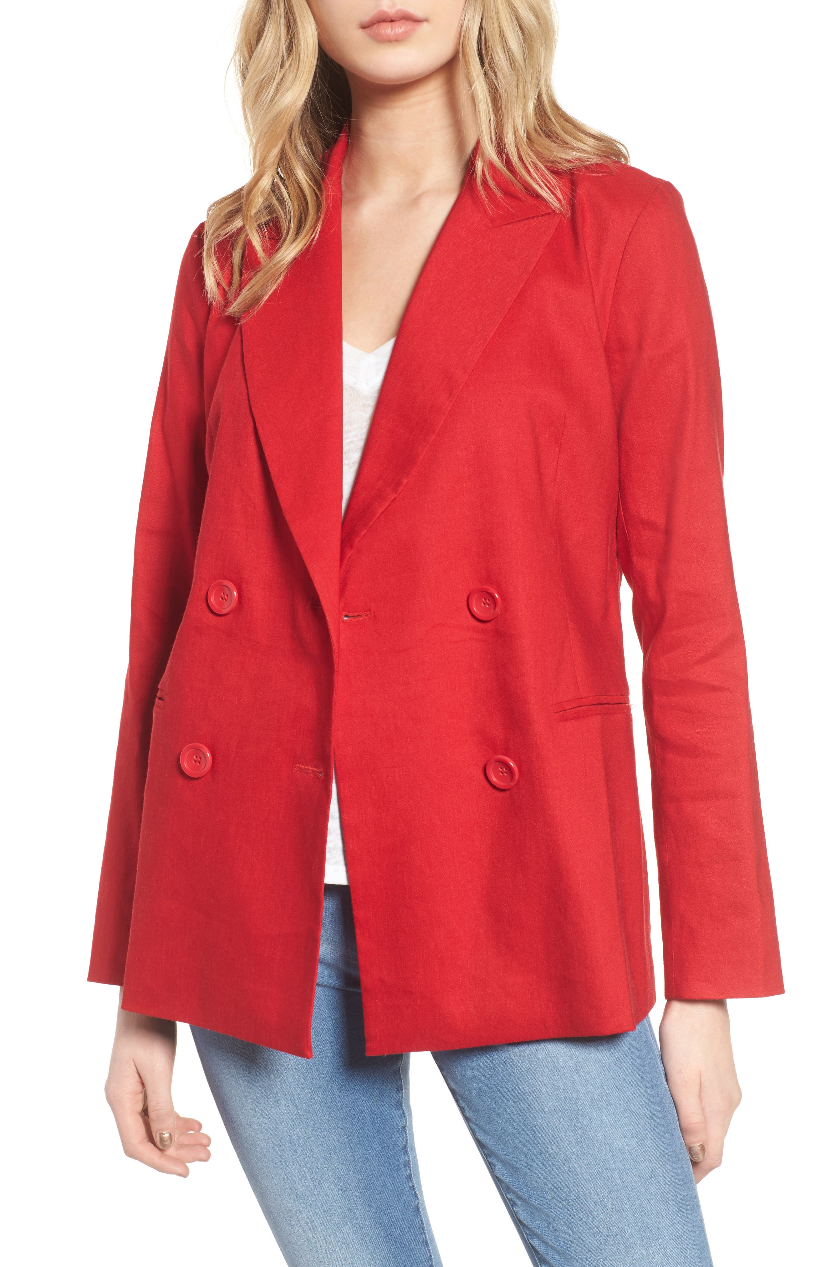 Double Breasted Linen Blend Blazer,                             Main thumbnail 3, color,