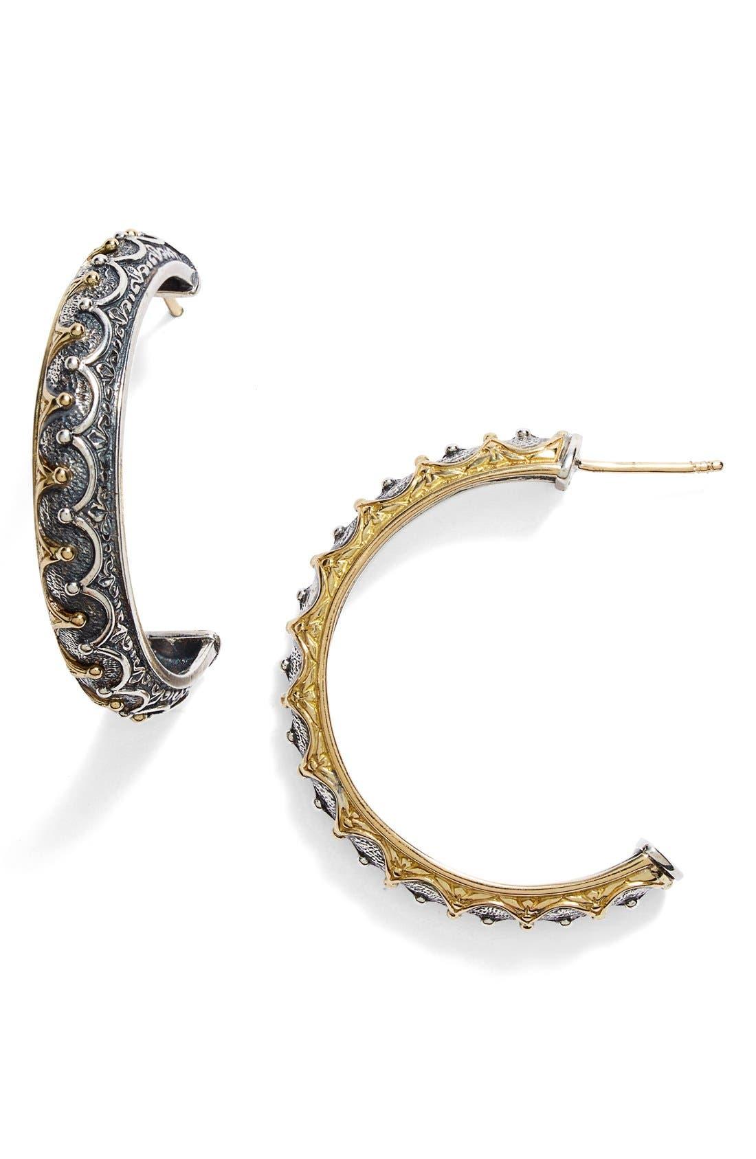 'Hebe' Crown Detail Hoop Earrings,                             Main thumbnail 1, color,                             710