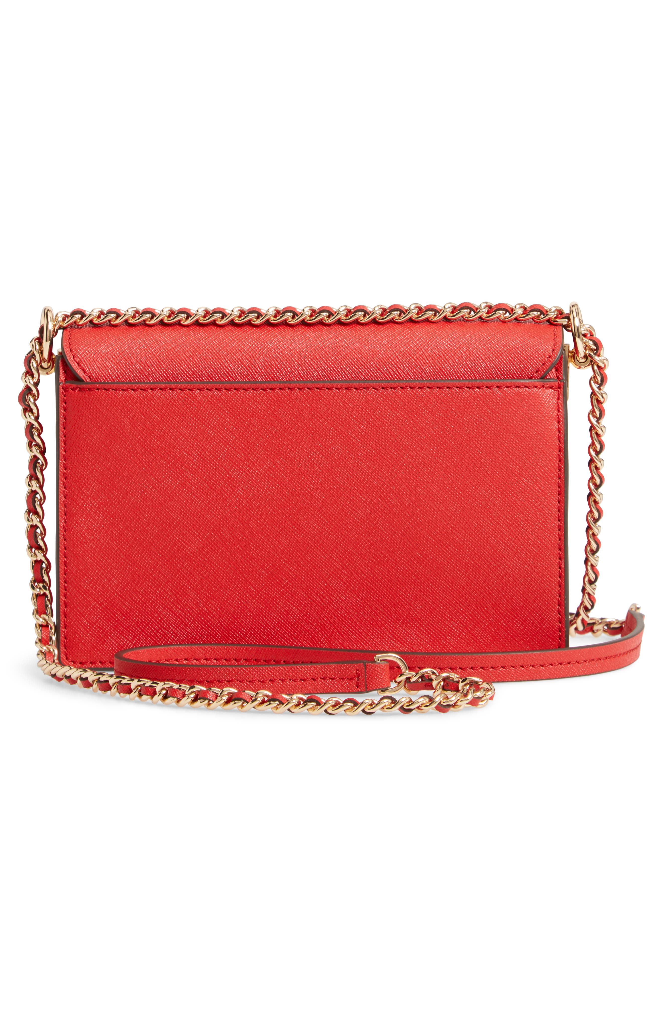 Mini Robinson Convertible Leather Shoulder Bag,                             Alternate thumbnail 3, color,                             BRILLIANT RED