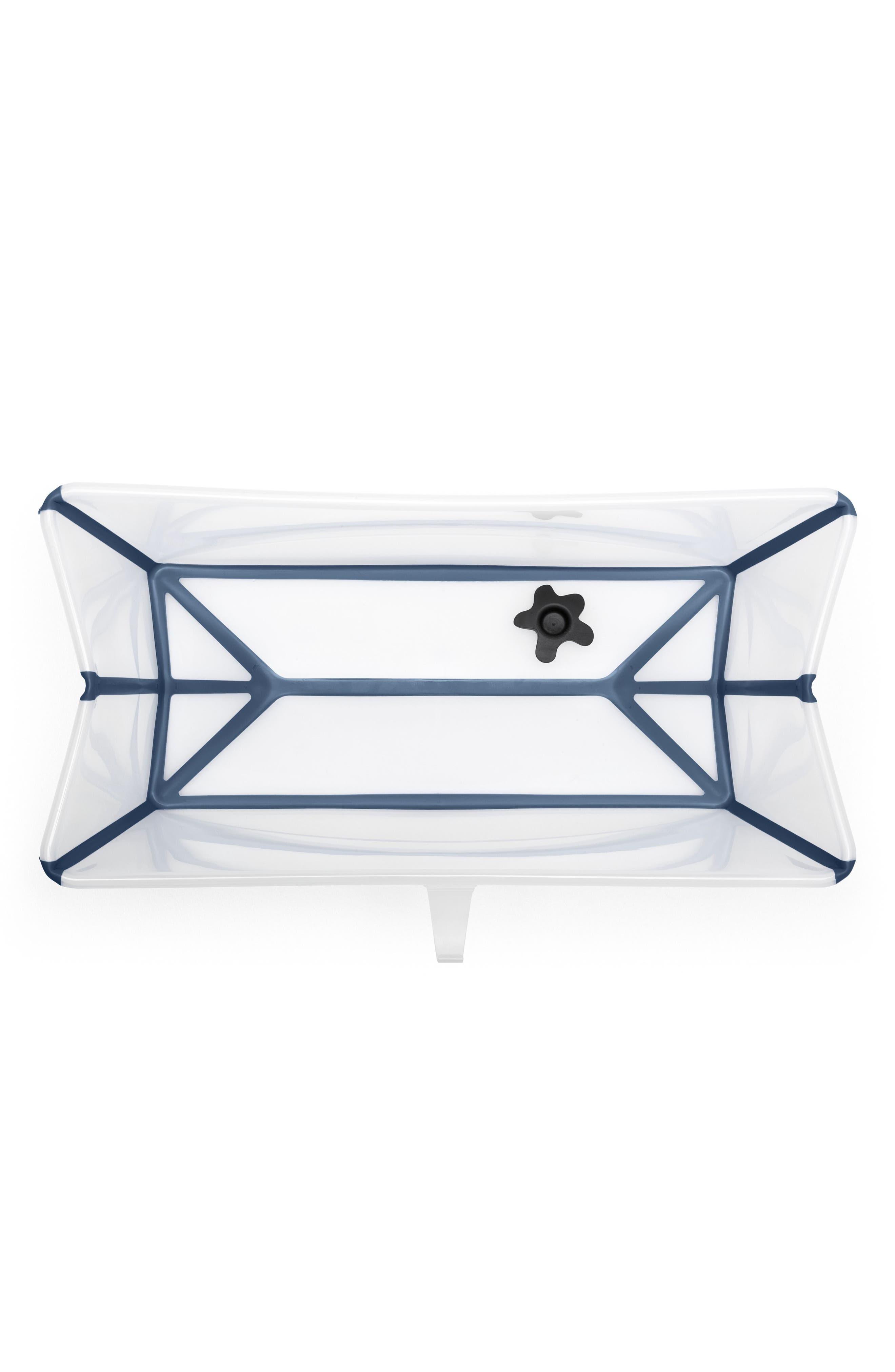 'Flexi Bath<sup>®</sup>' Foldable Baby Bathtub,                             Alternate thumbnail 2, color,                             TRANSPARENT BLUE