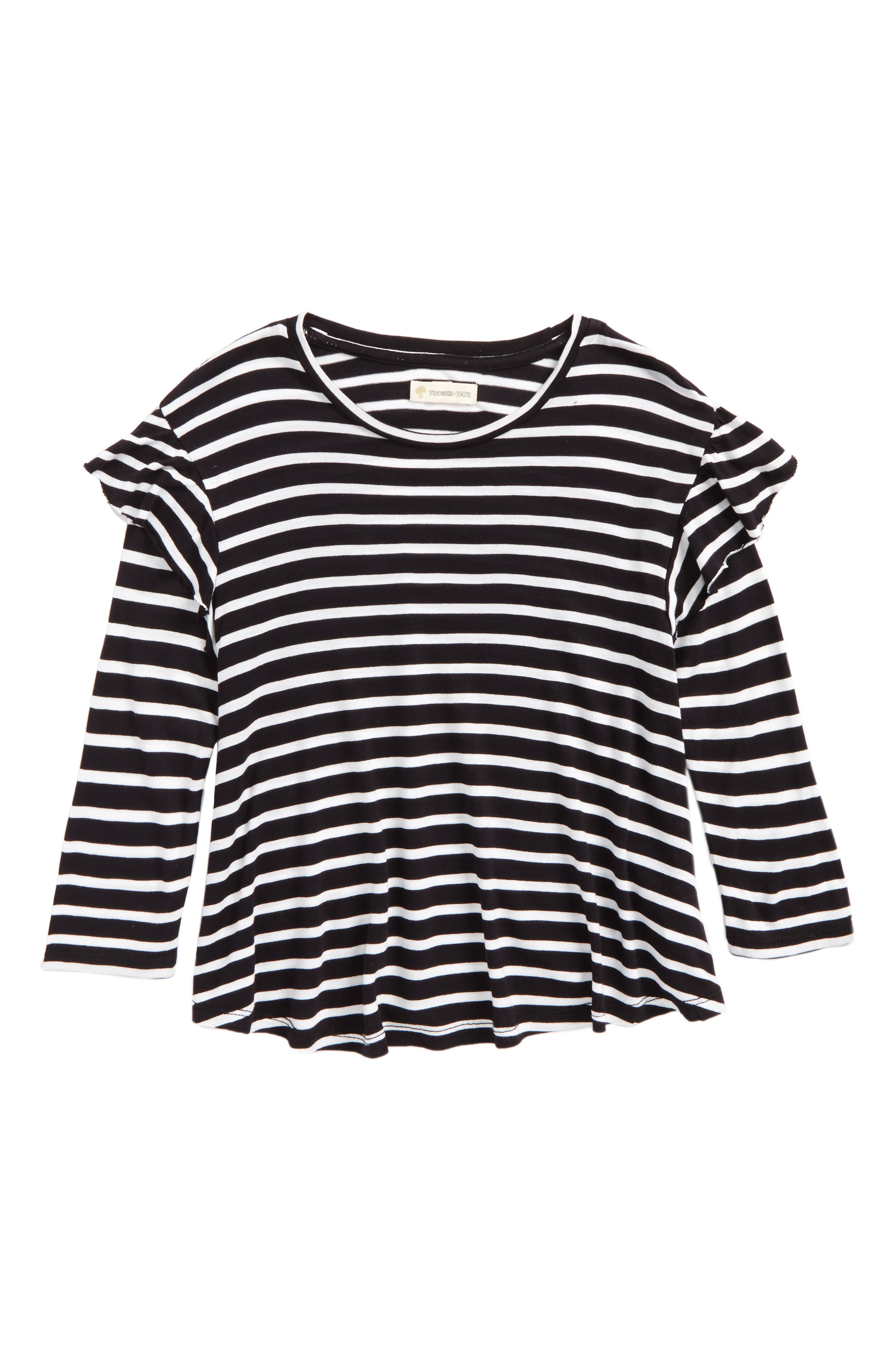 Stripe Ruffle Swing Tee,                             Main thumbnail 1, color,                             001