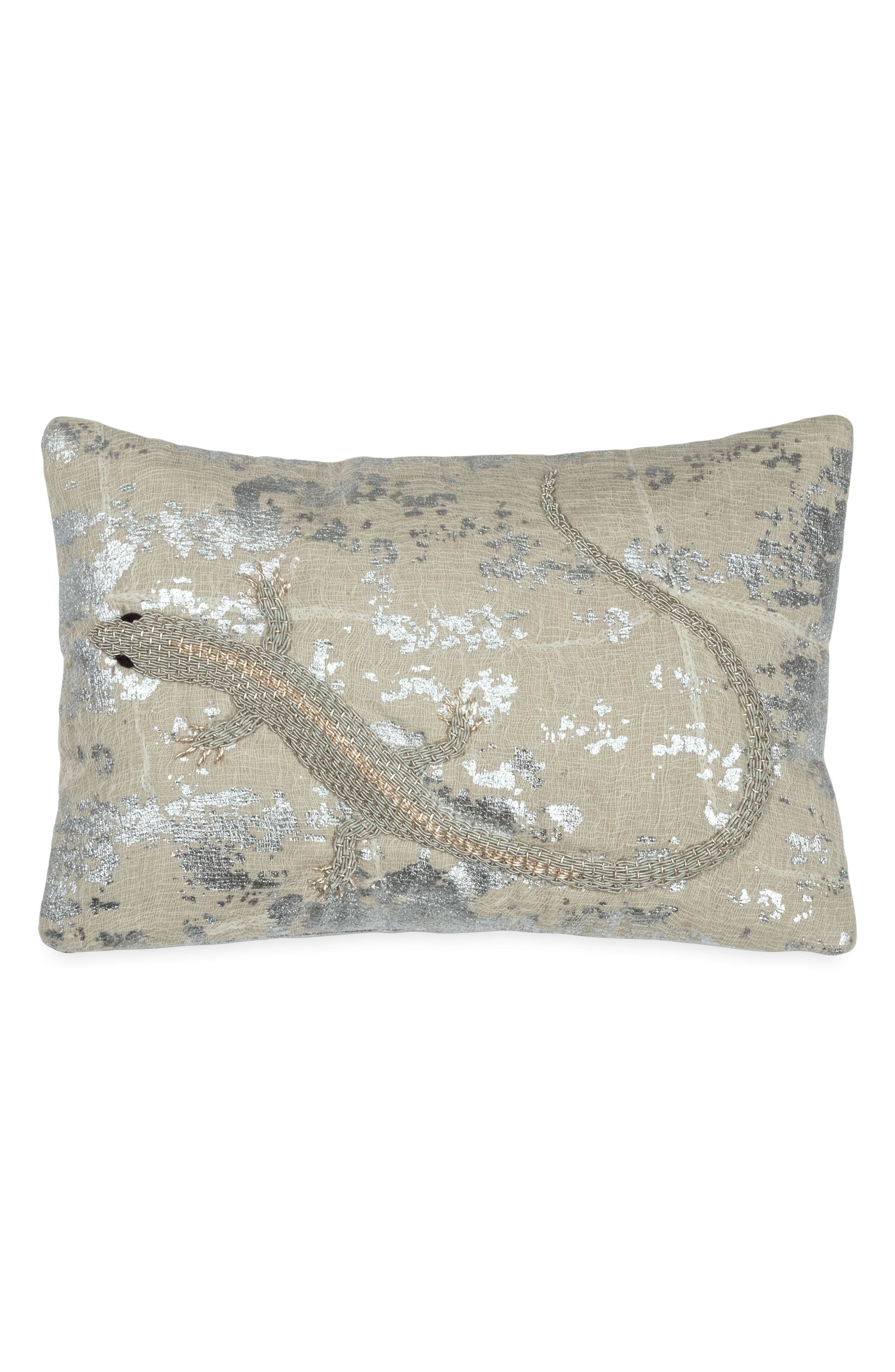 MICHAEL ARAM Lizard Embroidered Decorative Pillow, Main, color, SILVER