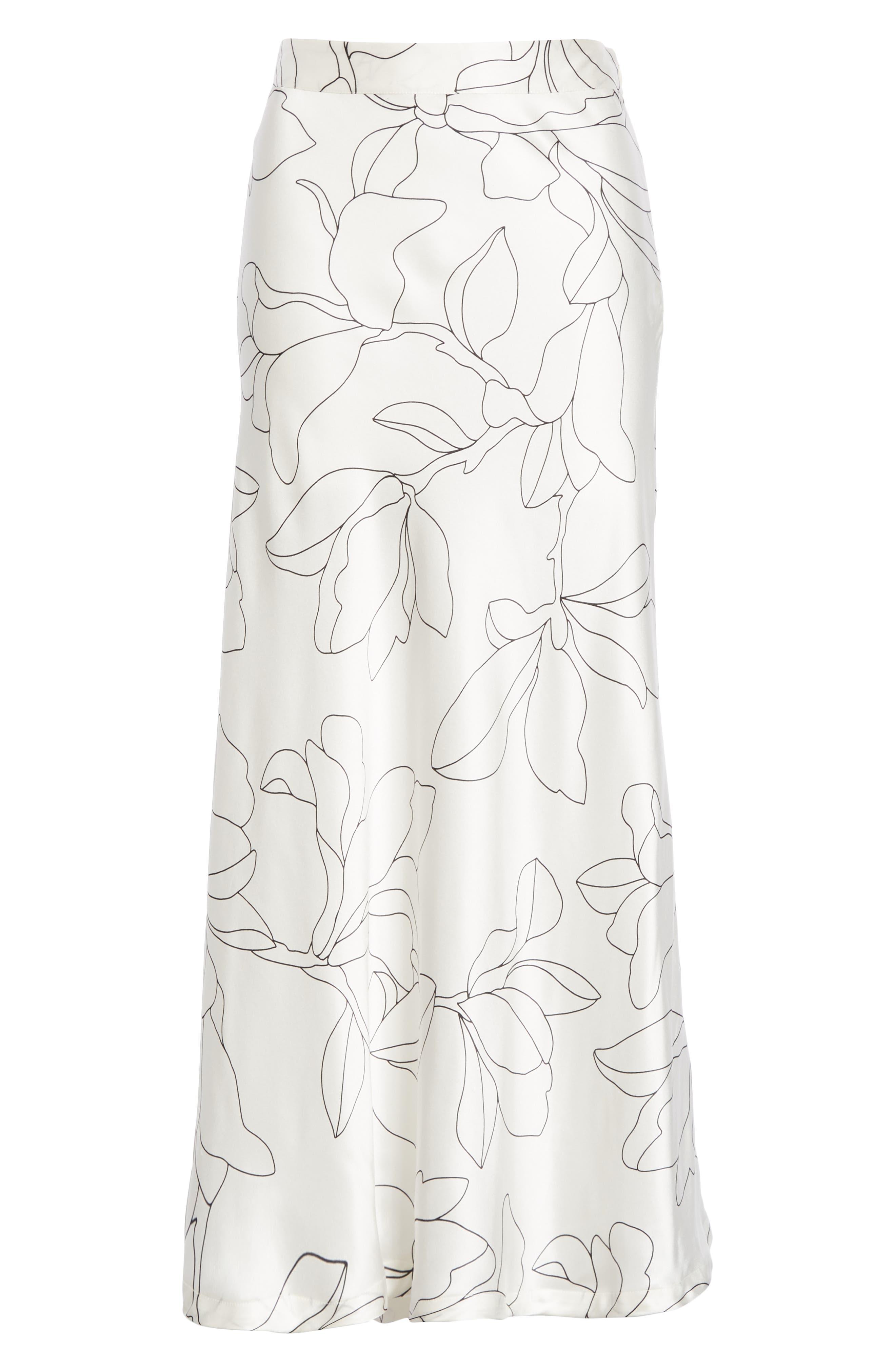 Iva Floral Silk Midi Skirt,                             Alternate thumbnail 6, color,                             NATURAL WHITE TRUE BLACK