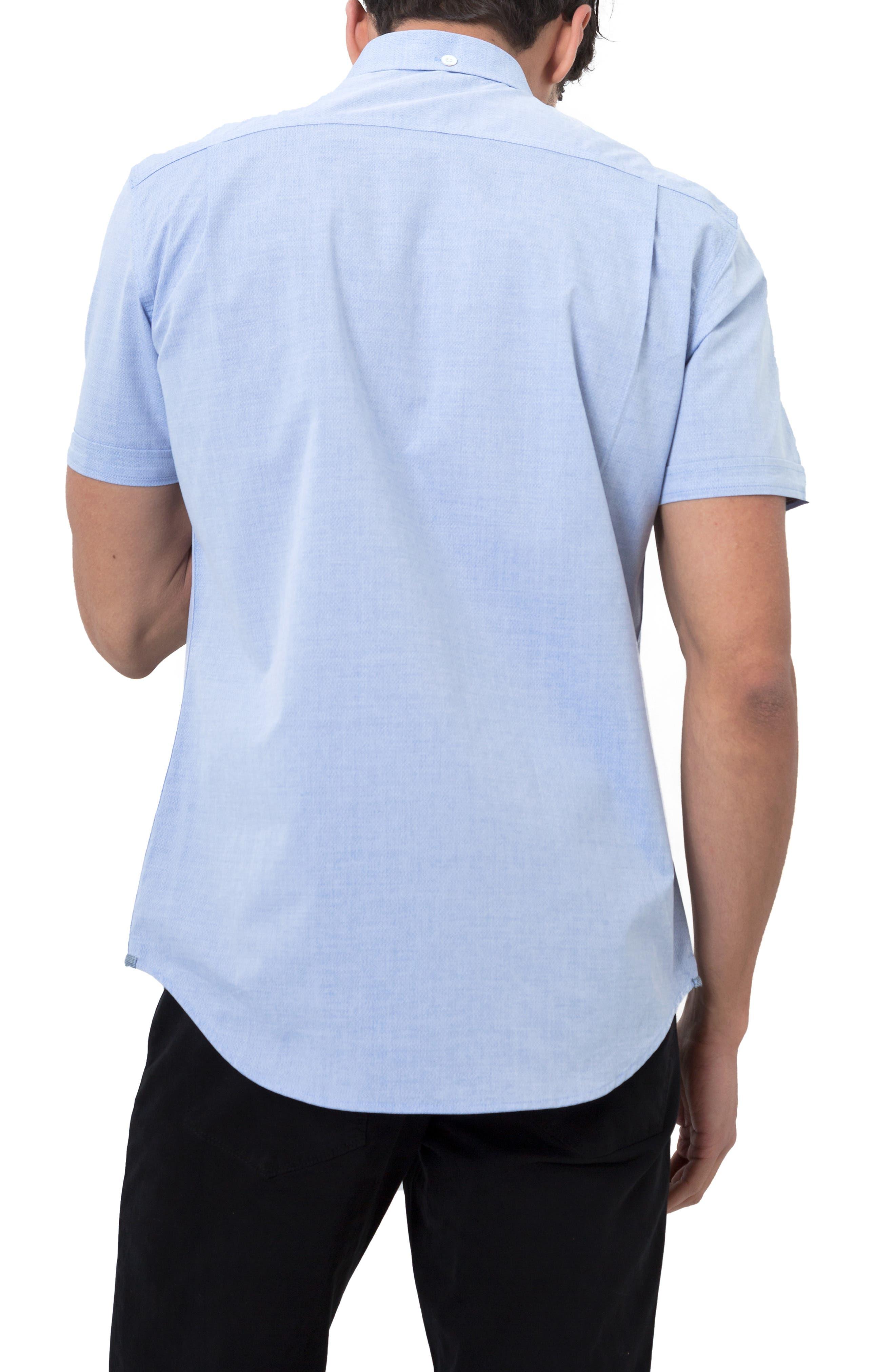 Smile Away Trim Fit Sport Shirt,                             Alternate thumbnail 3, color,                             LIGHT BLUE