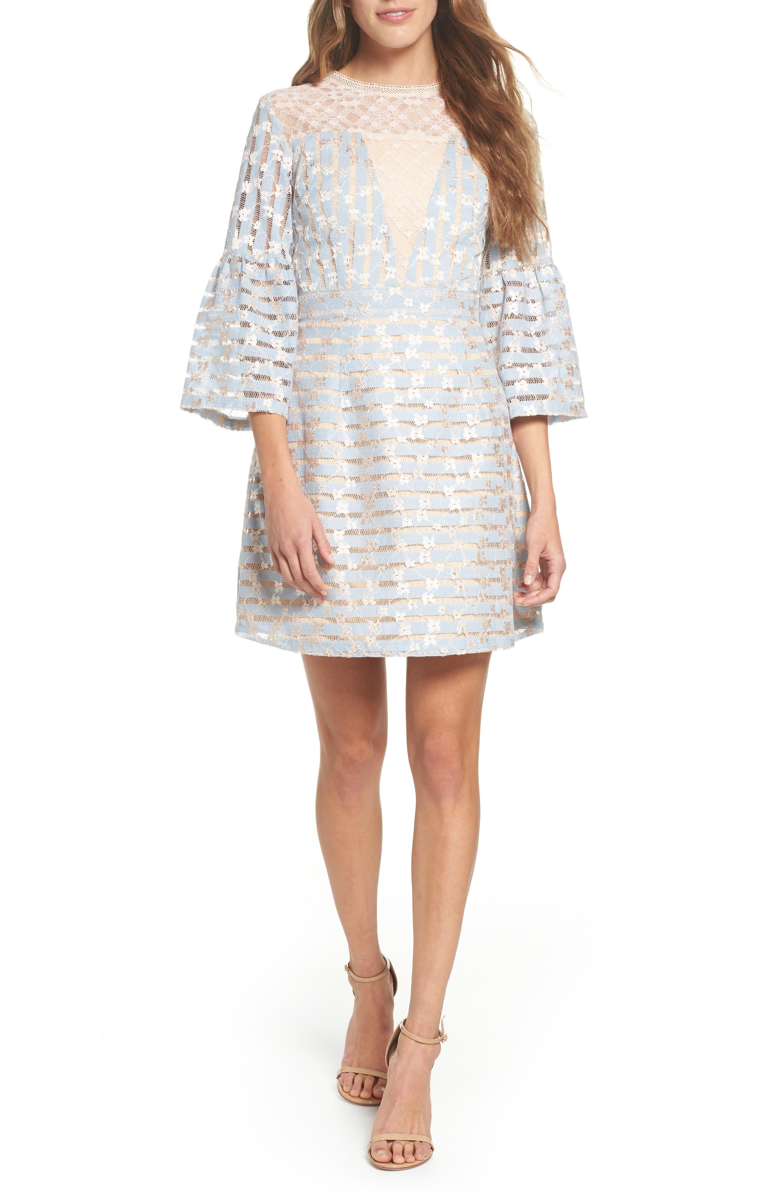 Cordelia Bell Sleeve Minidress,                             Main thumbnail 1, color,                             400