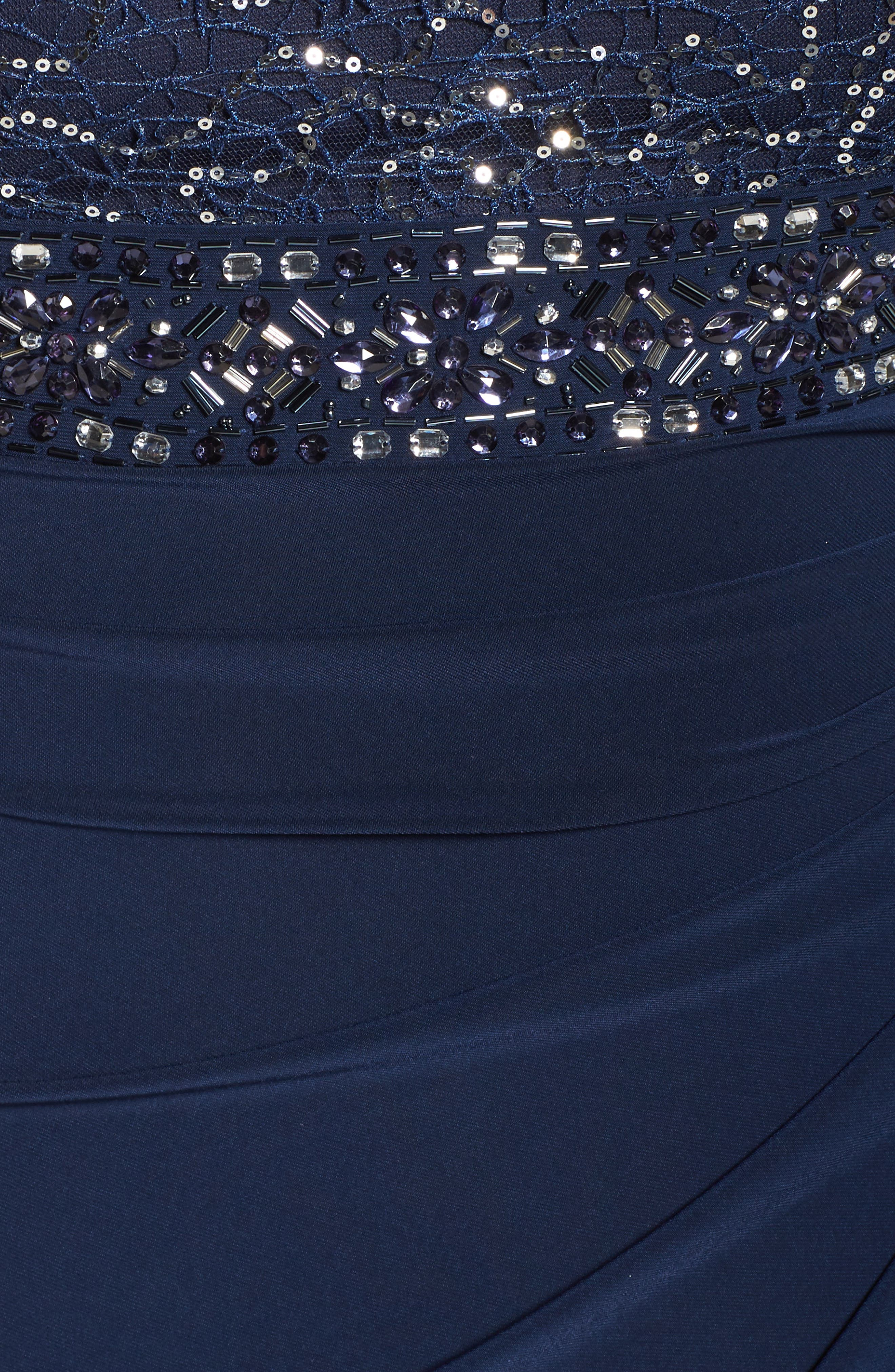 Lace & Jersey Gown,                             Alternate thumbnail 5, color,                             NAVY
