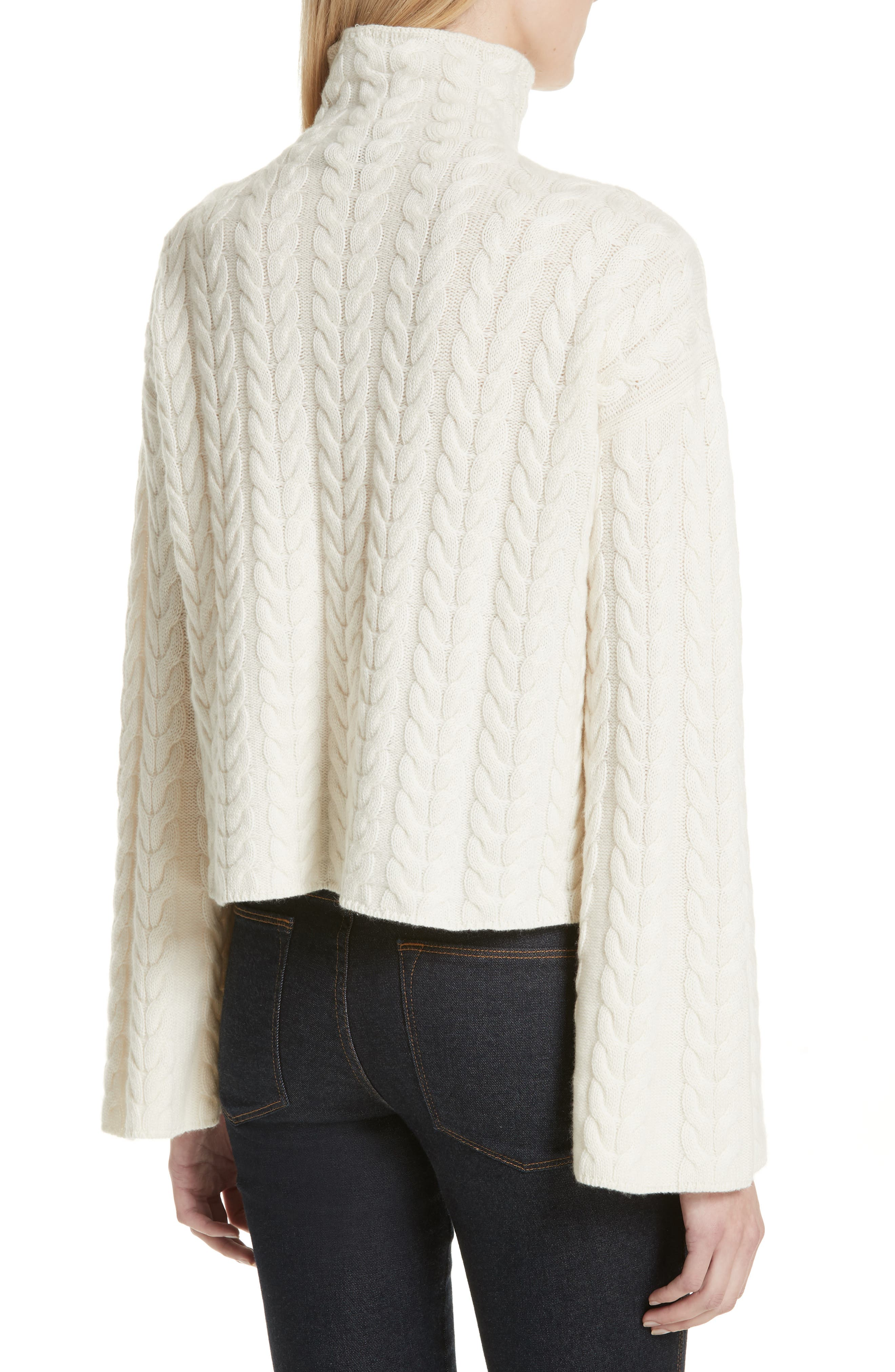 Cable Cashmere Sweater,                             Alternate thumbnail 2, color,                             IVORY/ IVORY