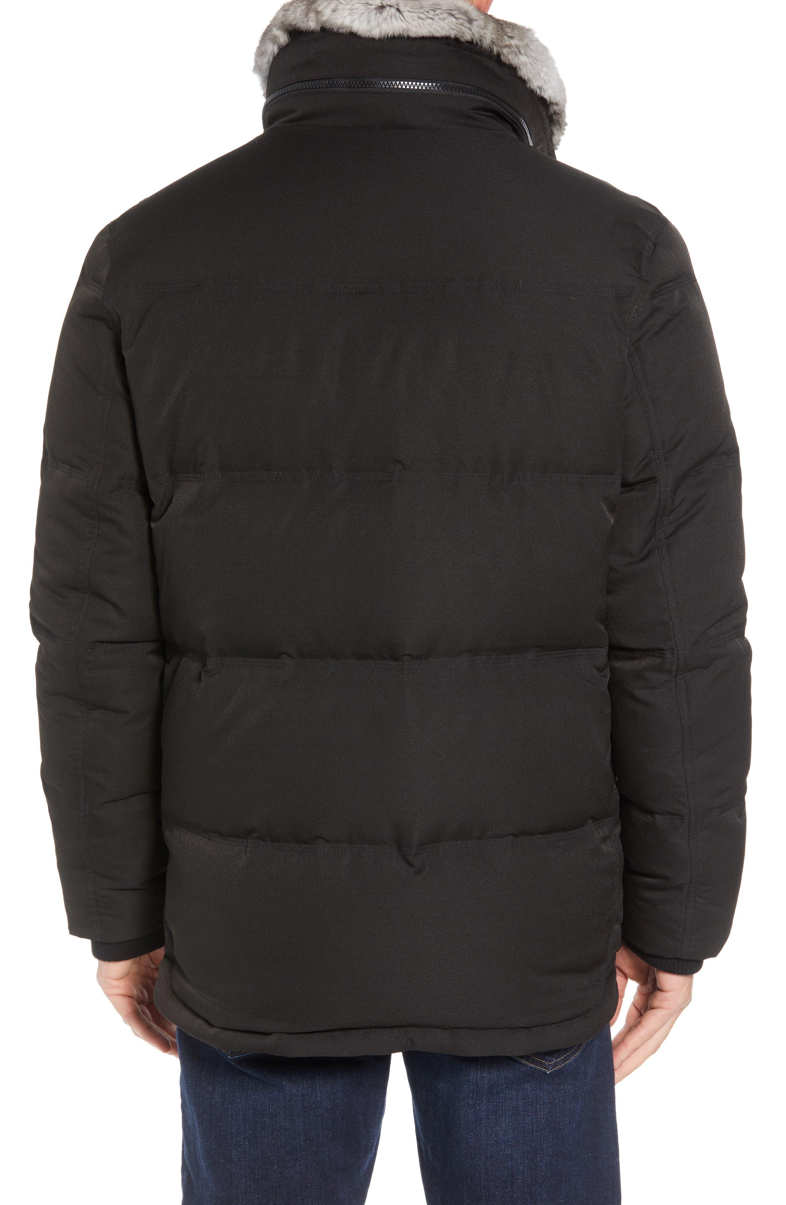 Bryant Genuine Rabbit Fur Trim Down Jacket,                             Alternate thumbnail 3, color,                             BLACK