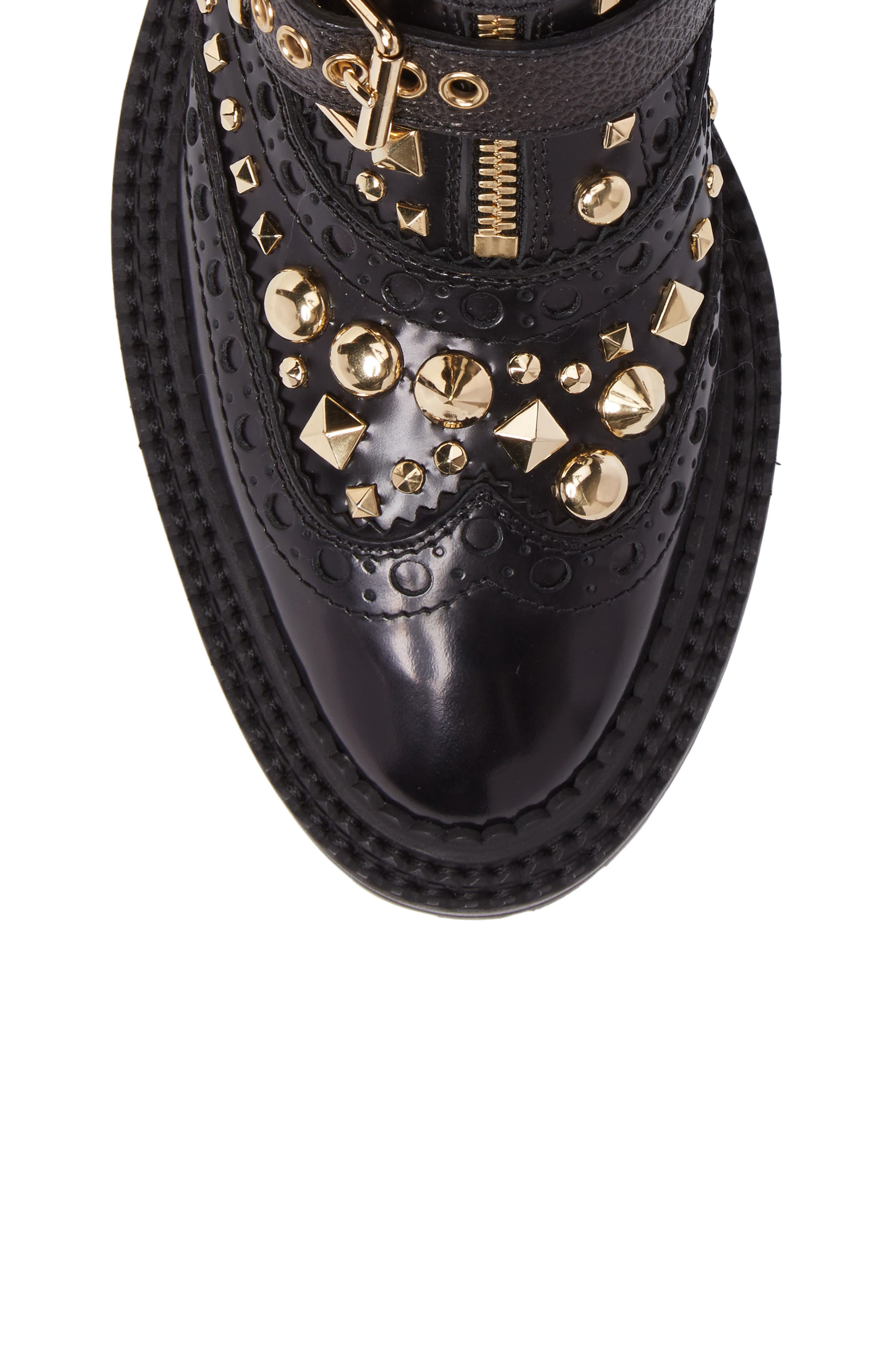 Studded Combat Boot,                             Alternate thumbnail 5, color,                             001
