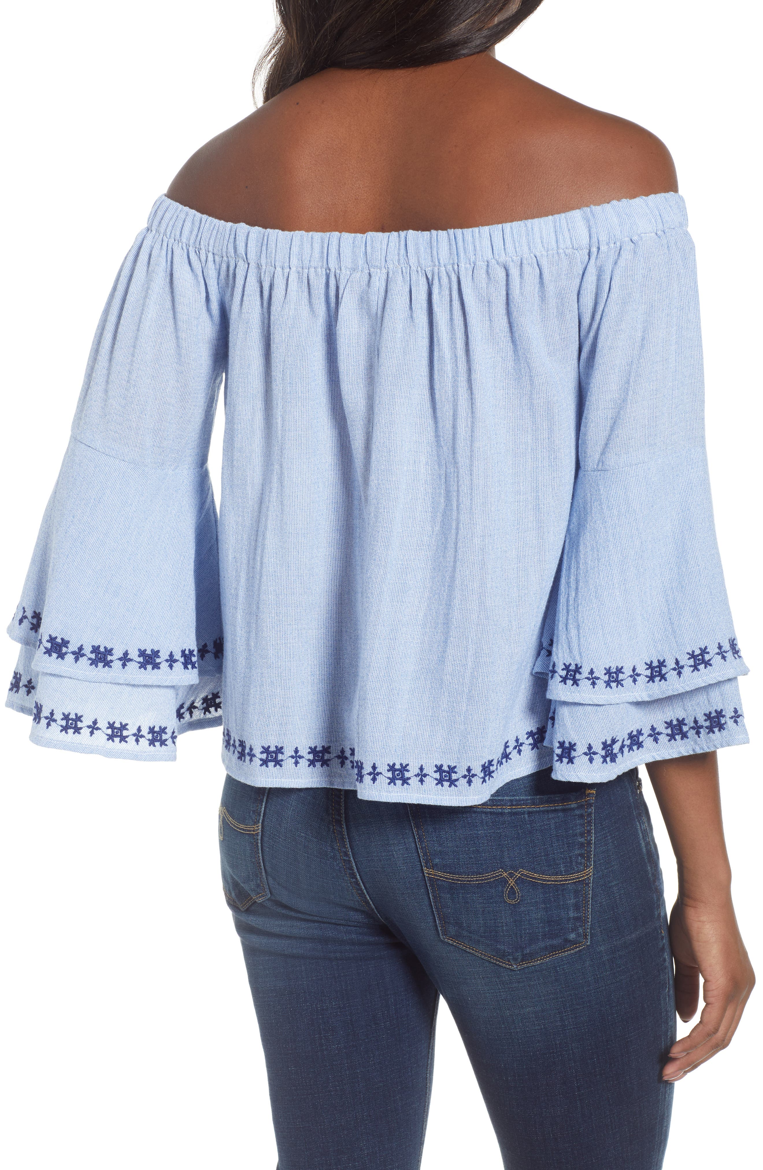 Pinstriped Embroidered Off the Shoulder Cotton Top,                             Alternate thumbnail 2, color,                             461
