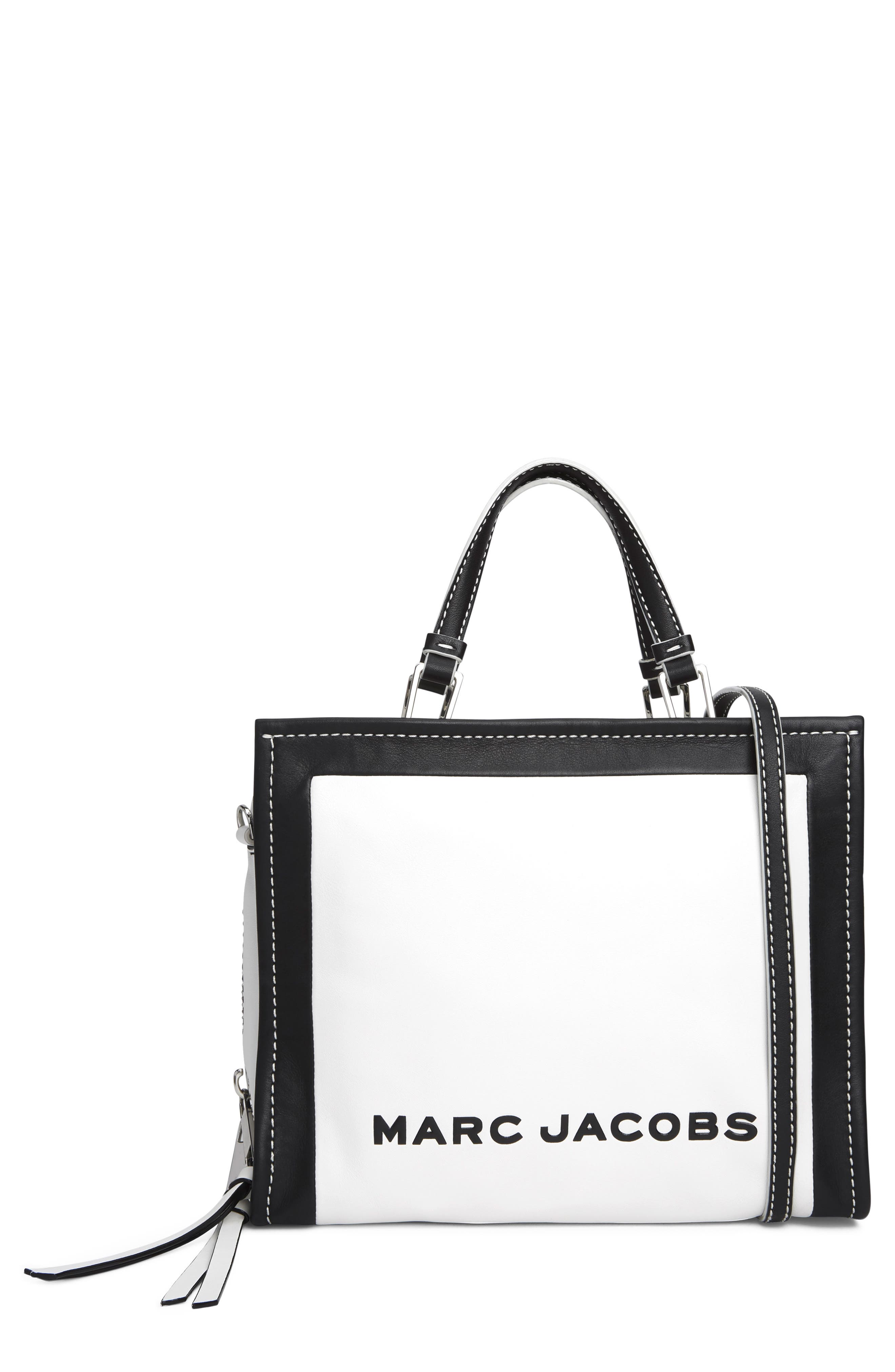 MARC JACOBS The Box 29 Colorblock Leather Satchel, Main, color, COTTON MULTI