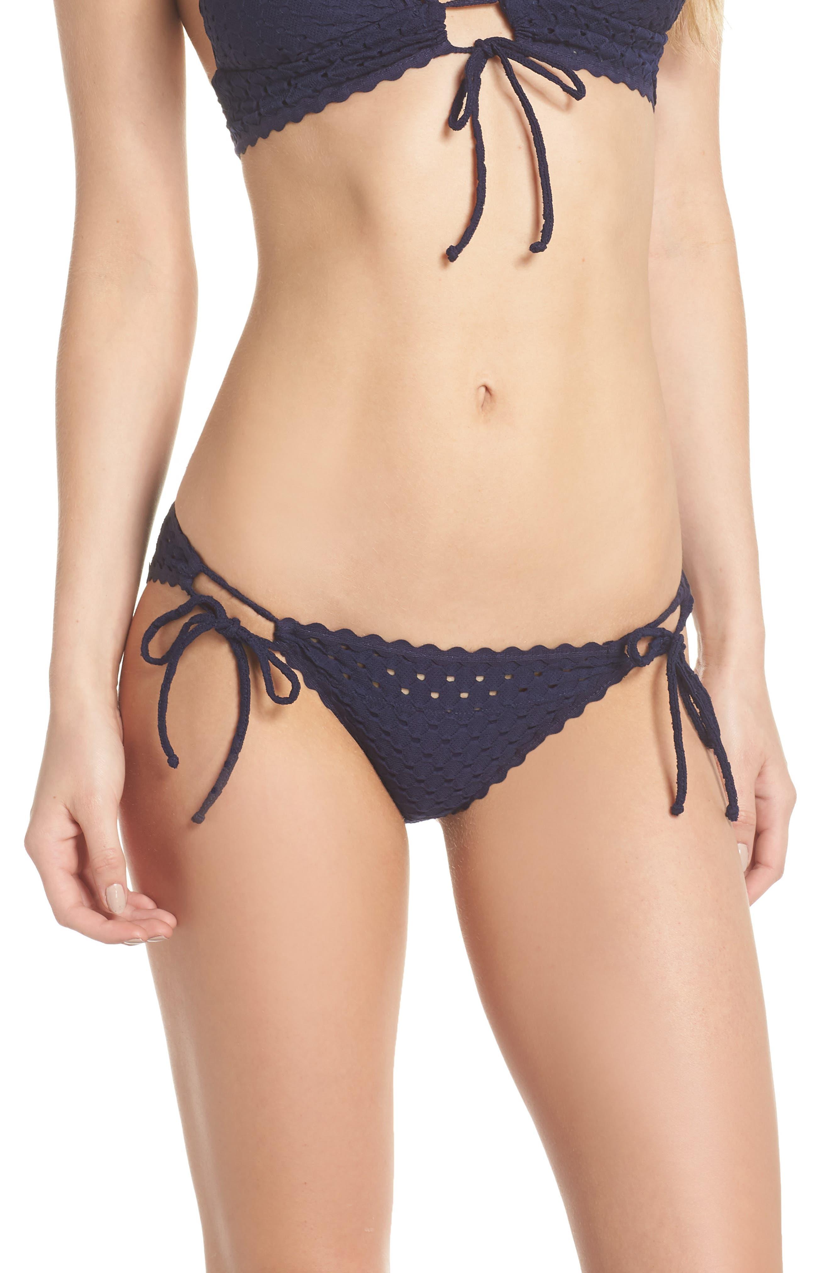 Side Tie Bikini Bottoms,                             Main thumbnail 1, color,                             NAVY