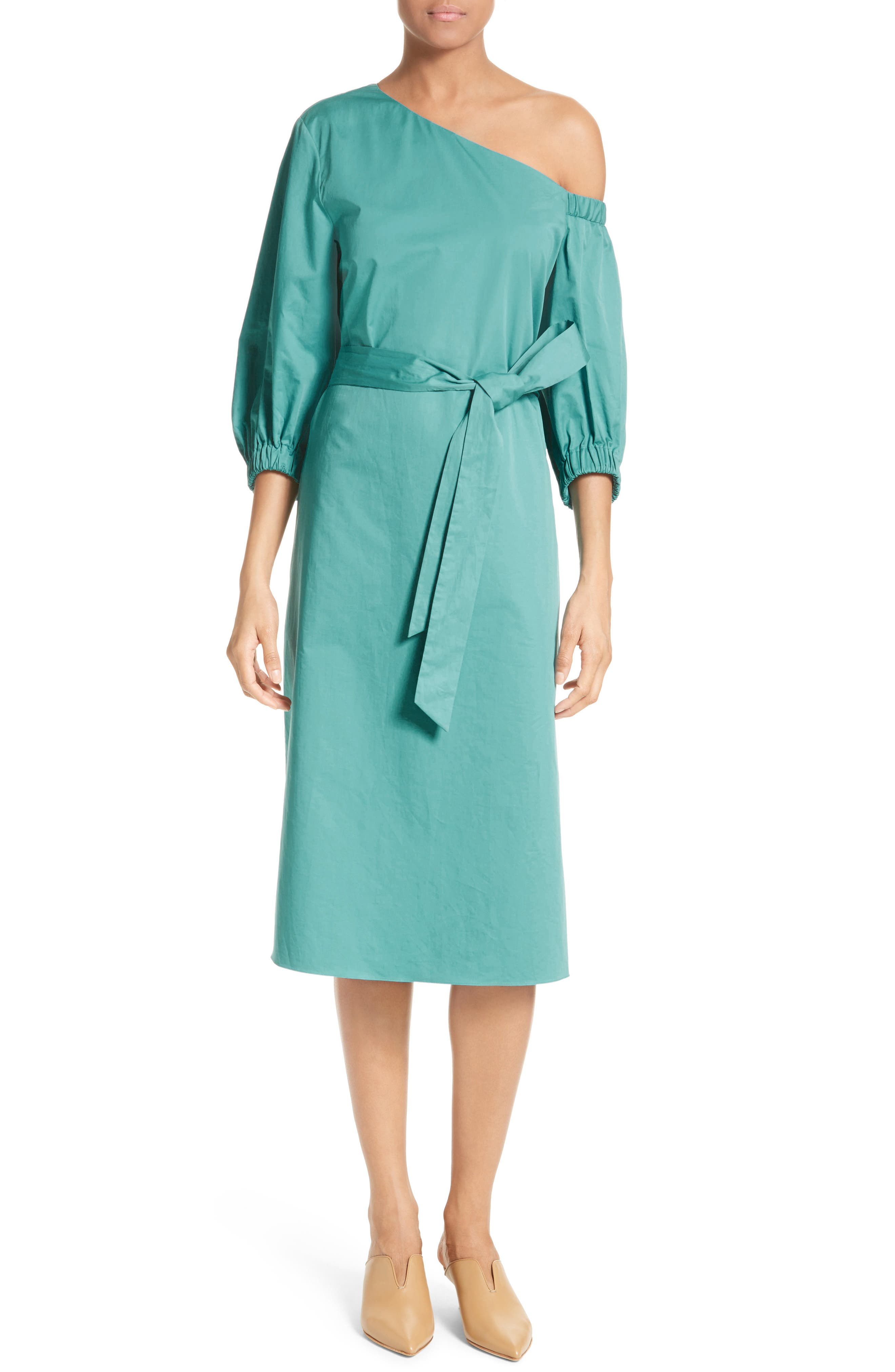 Cotton One-Shoulder Dress,                             Alternate thumbnail 5, color,