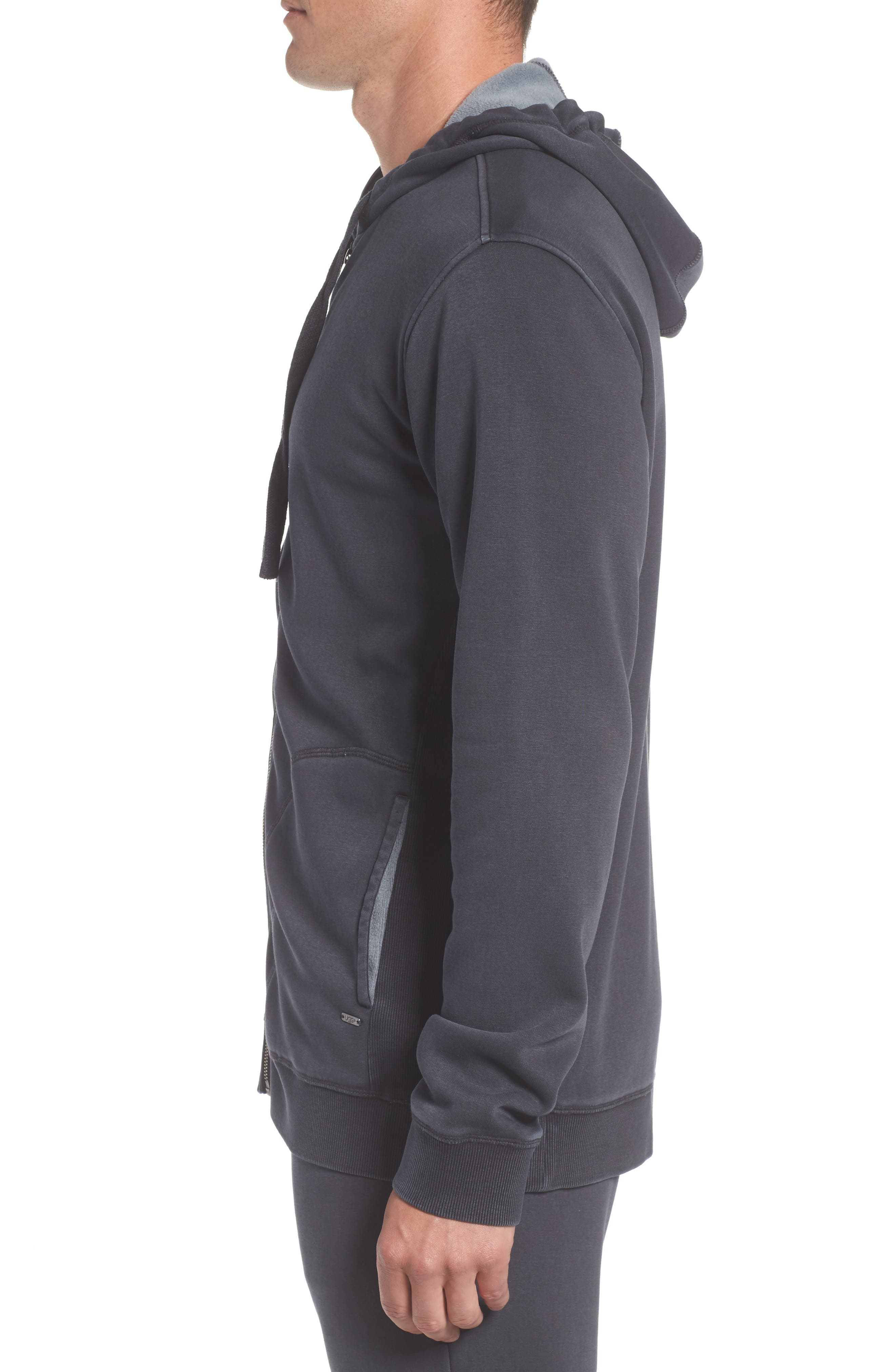 Elliot Washed Zip Hoodie,                             Alternate thumbnail 3, color,                             CHARCOAL