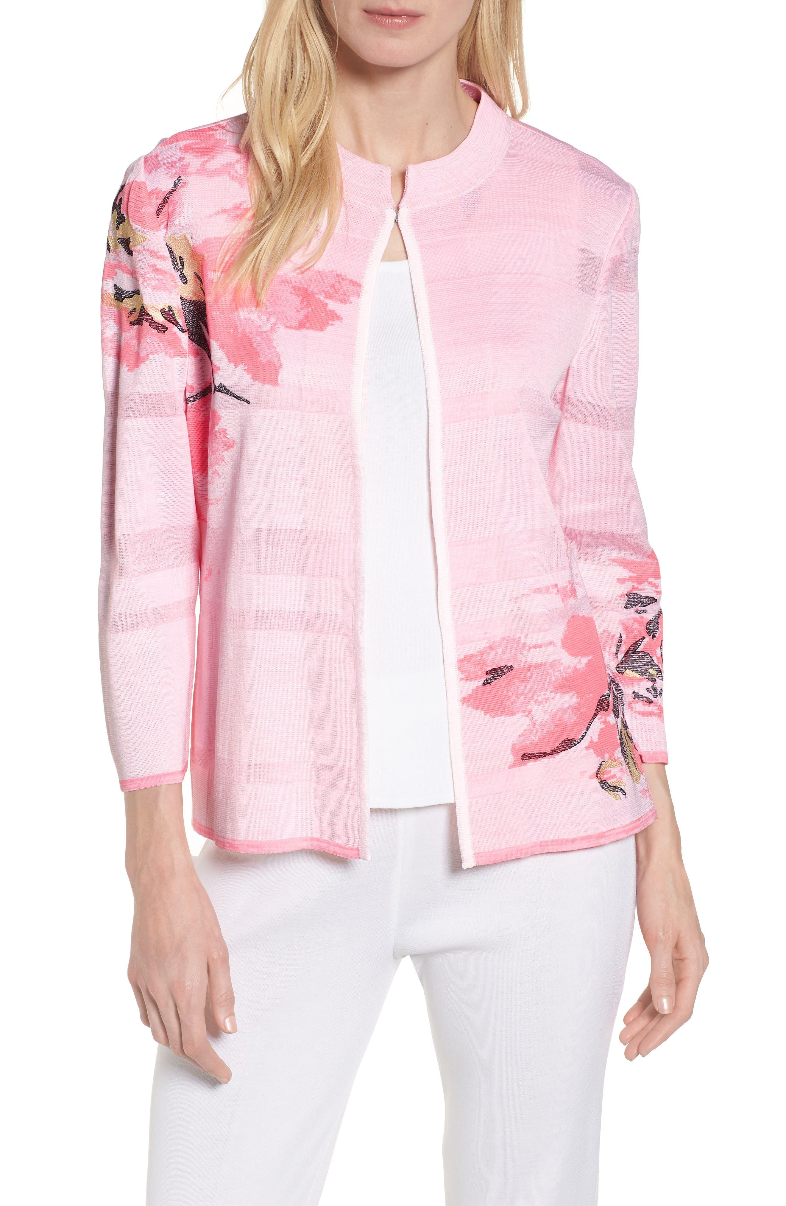 Floral Knit Jacket,                             Main thumbnail 1, color,                             MULTI