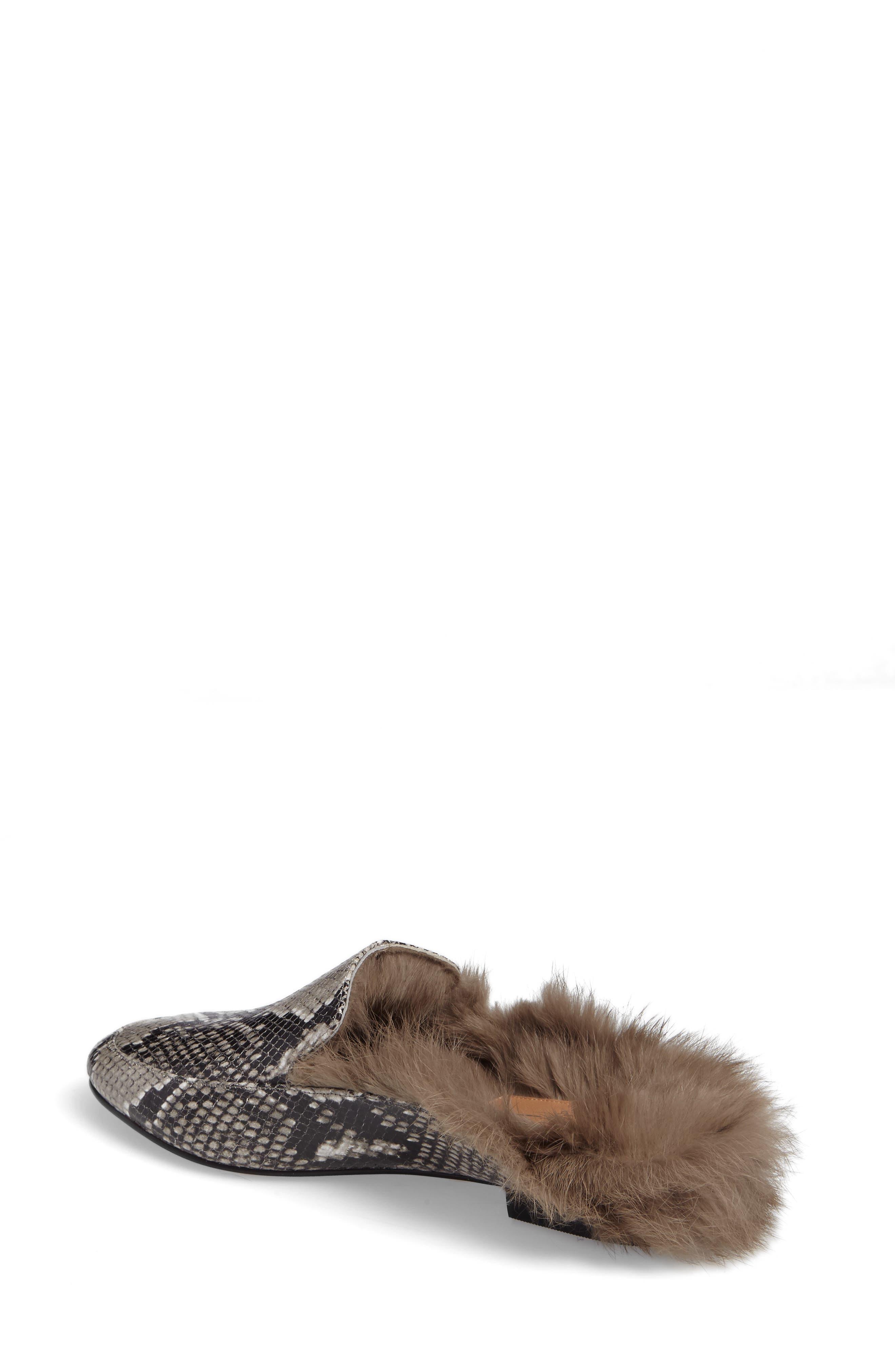 Asha Genuine Rabbit Fur Mule,                             Alternate thumbnail 4, color,