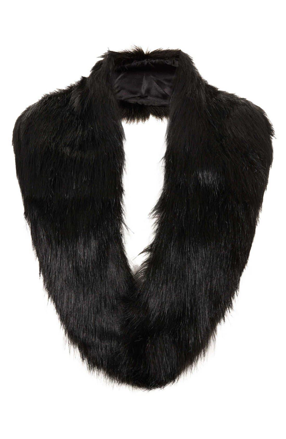 TOPSHOP Faux Fur Stole, Main, color, 001