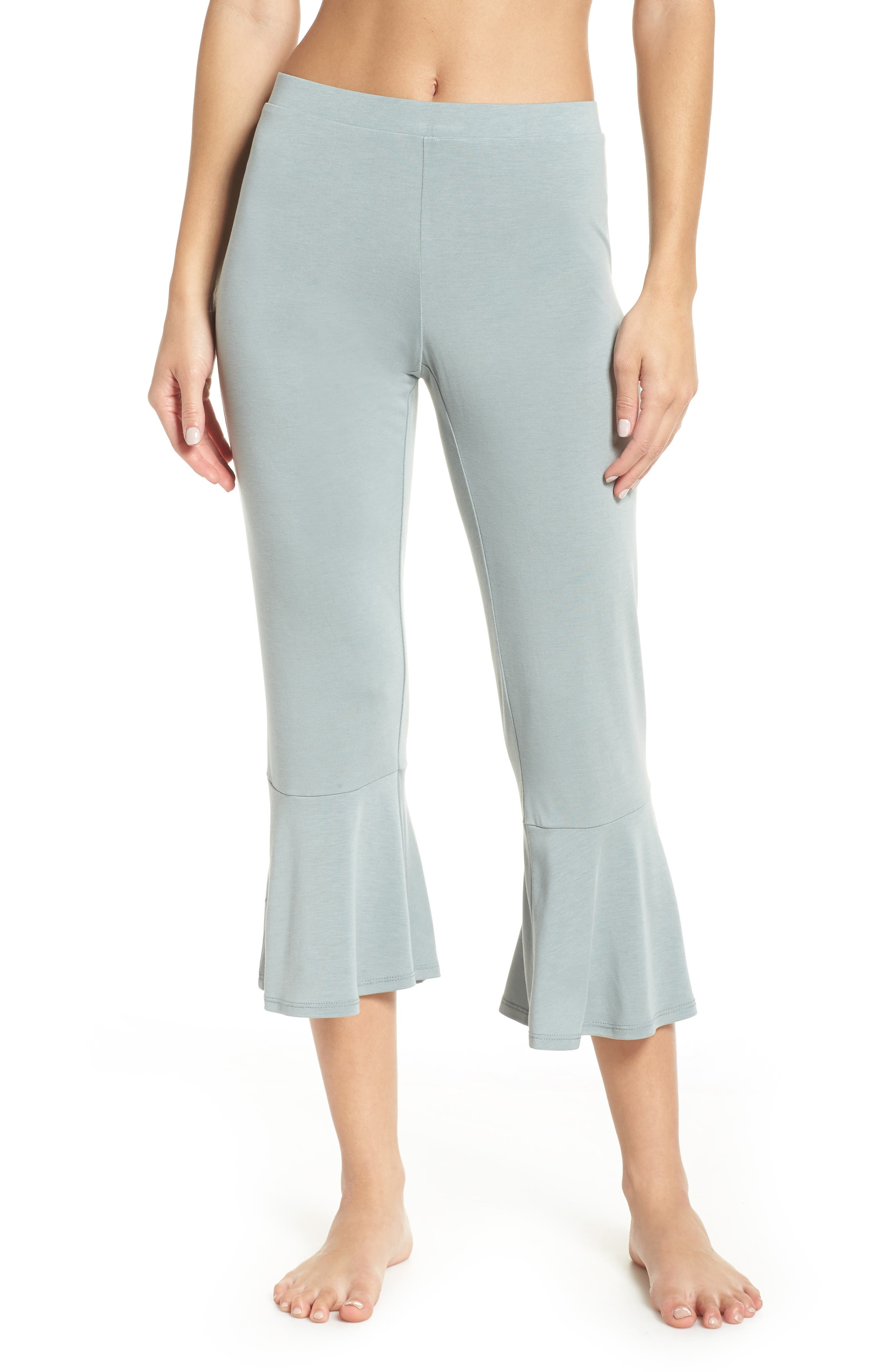 Aden Ruffle Hem Lounge Pants, Main, color, MINERAL SAGE