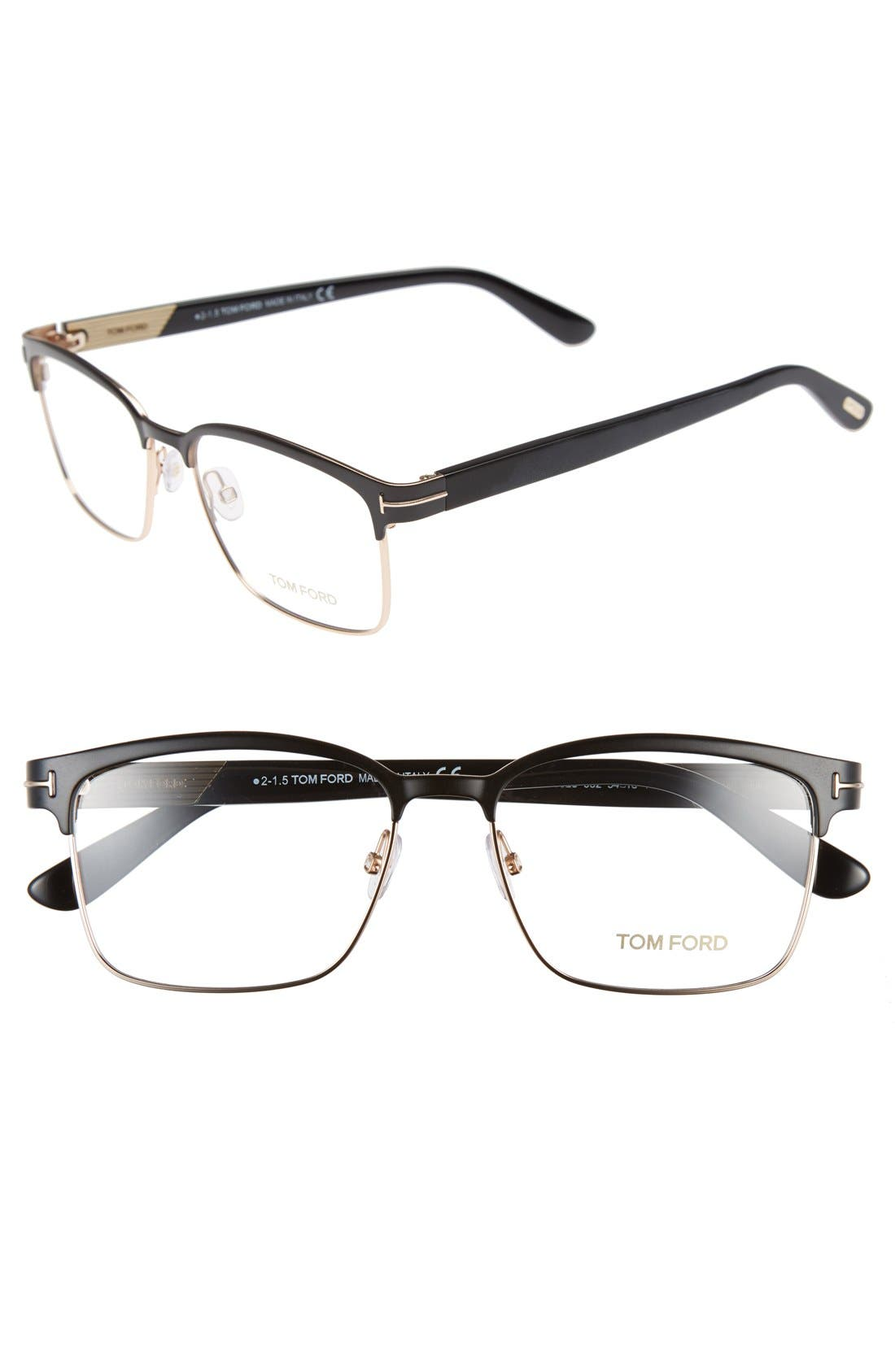 54mm Optical Glasses,                             Main thumbnail 1, color,                             MATTE BLACK/ SHINY ROSE GOLD