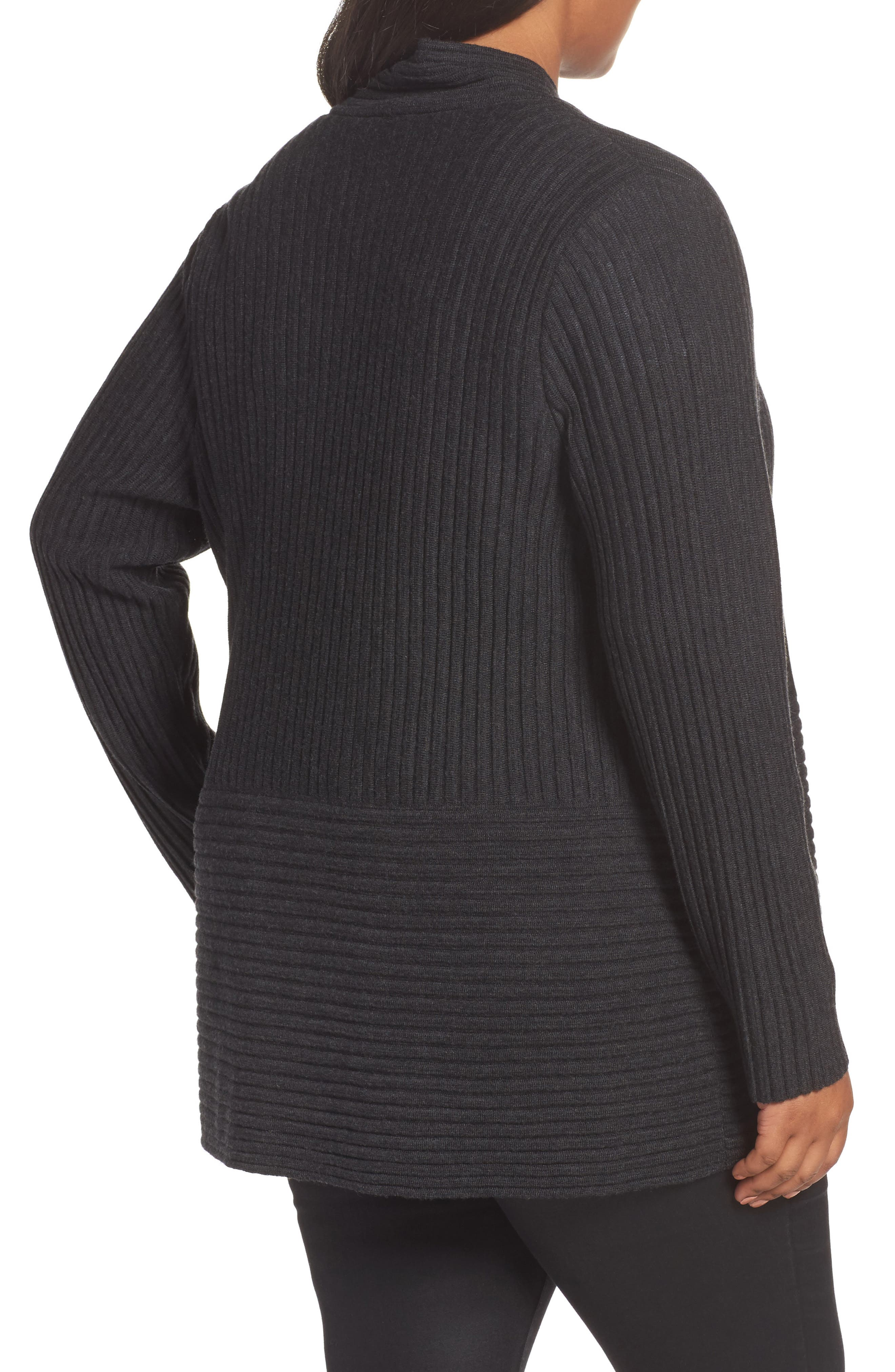 Ribbed Merino Wool Long Cardigan,                             Alternate thumbnail 6, color,