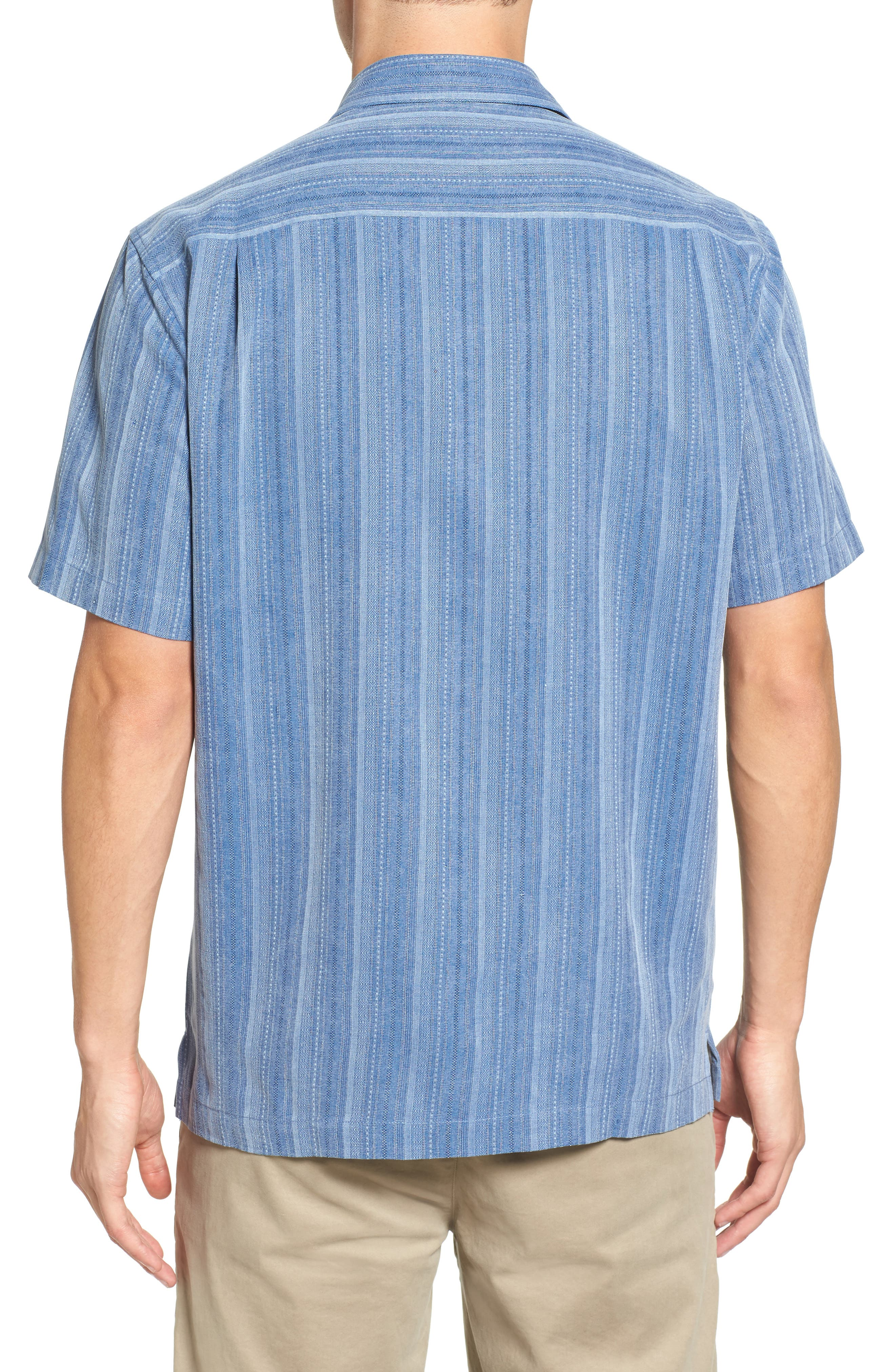 Zaldera Stripe Silk Camp Shirt,                             Alternate thumbnail 7, color,