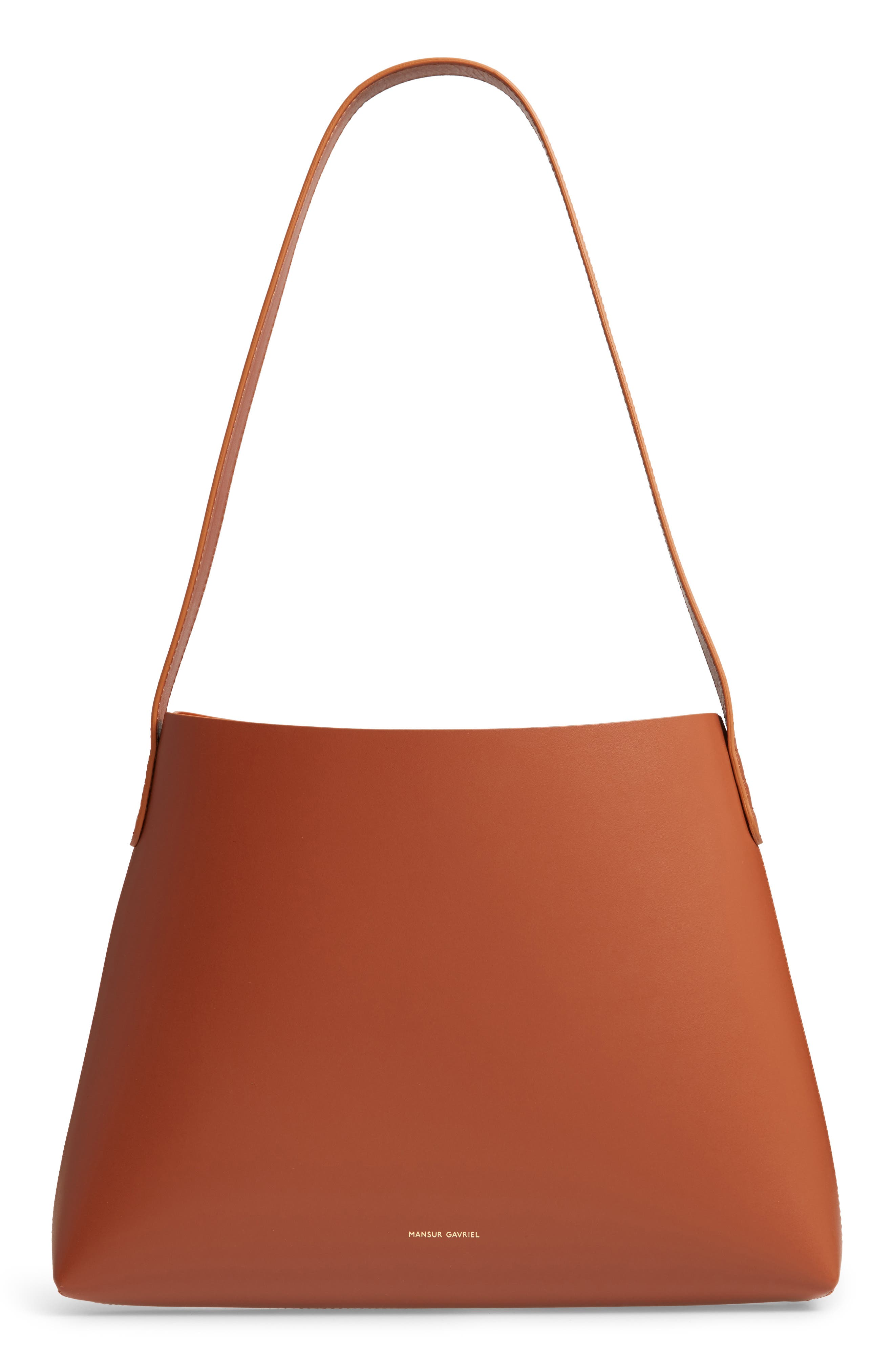 Small Leather Hobo,                         Main,                         color, SADDLE