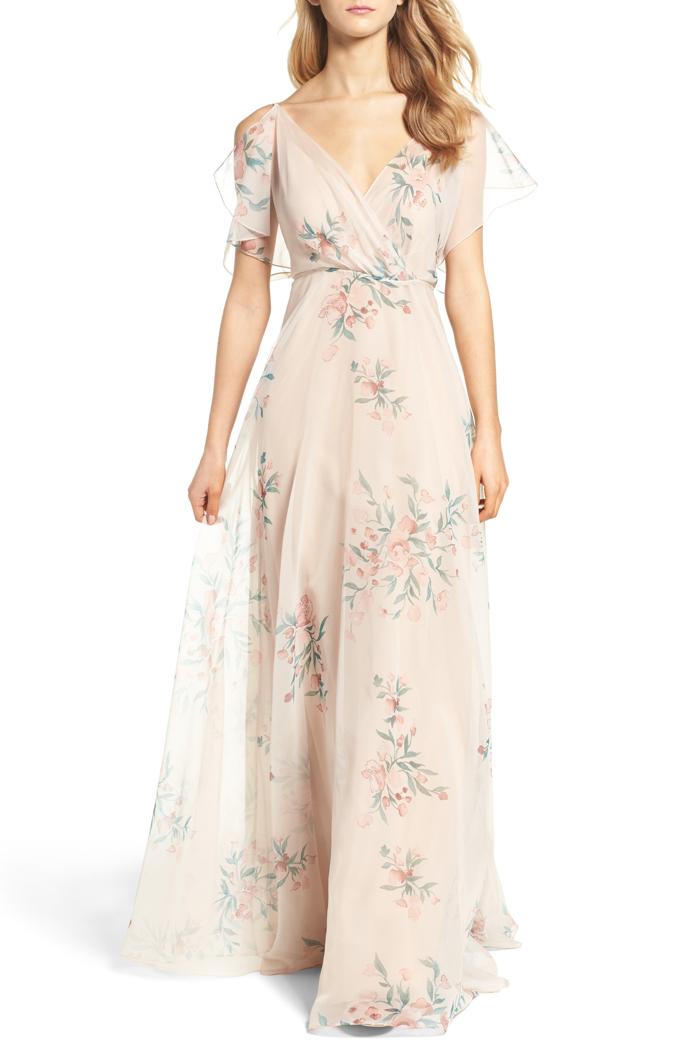 Cassie Flutter Sleeve Surplice Gown,                         Main,                         color, BLUSH CHAI
