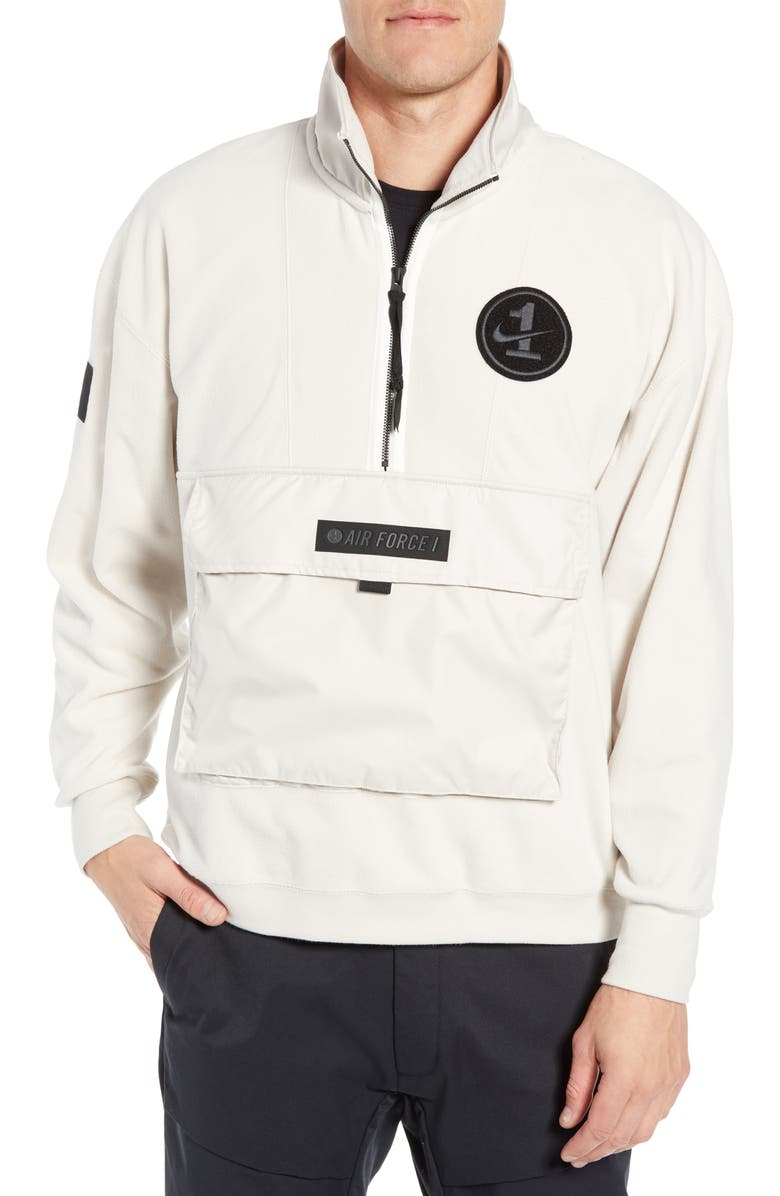 online store d67ab bf065 NIKE NSW Air Force 1 Half Zip Jacket, Main, color, LIGHT OREWOOD BROWN