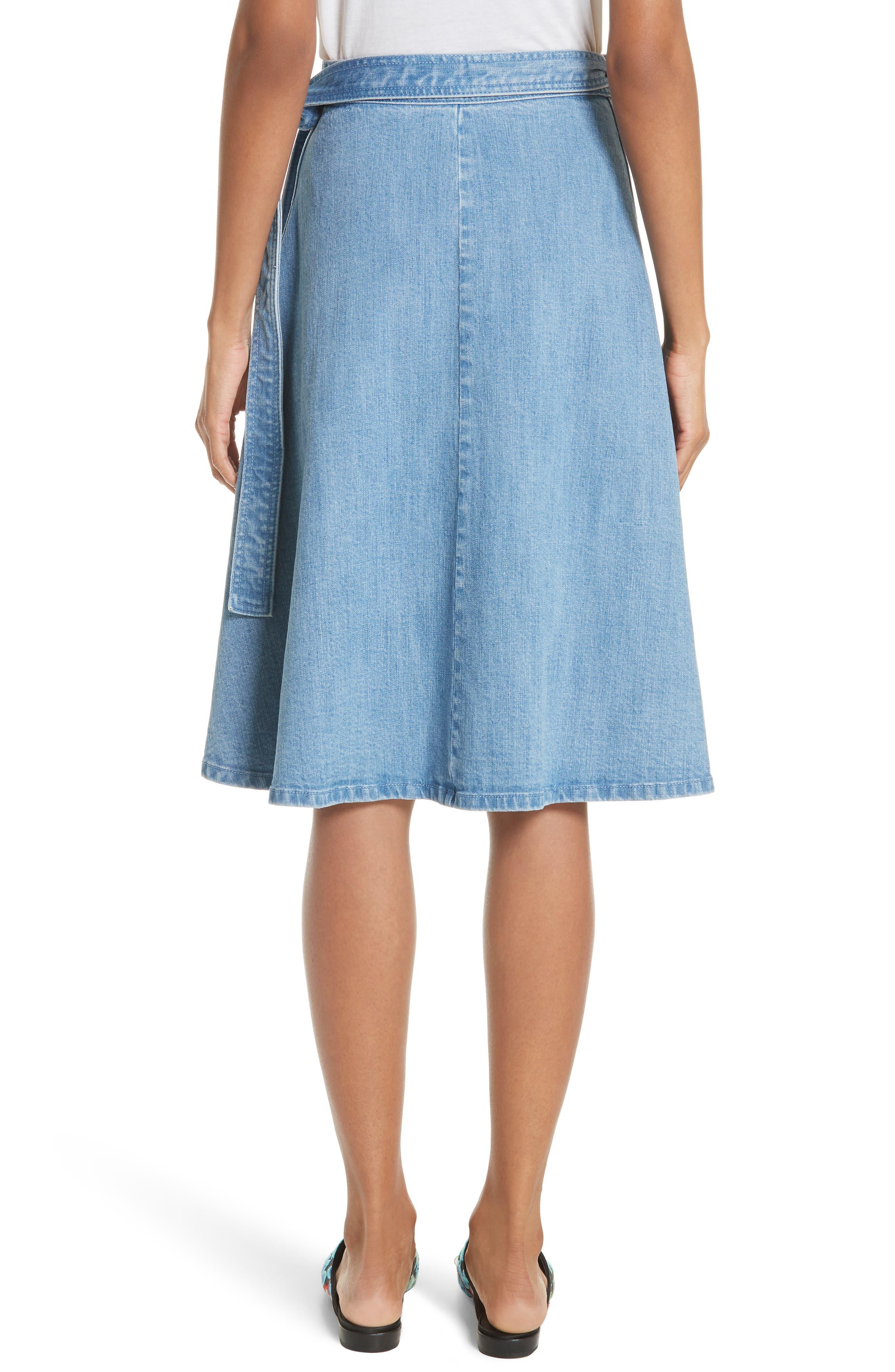 vintage stretch denim wrap skirt,                             Alternate thumbnail 2, color,                             429