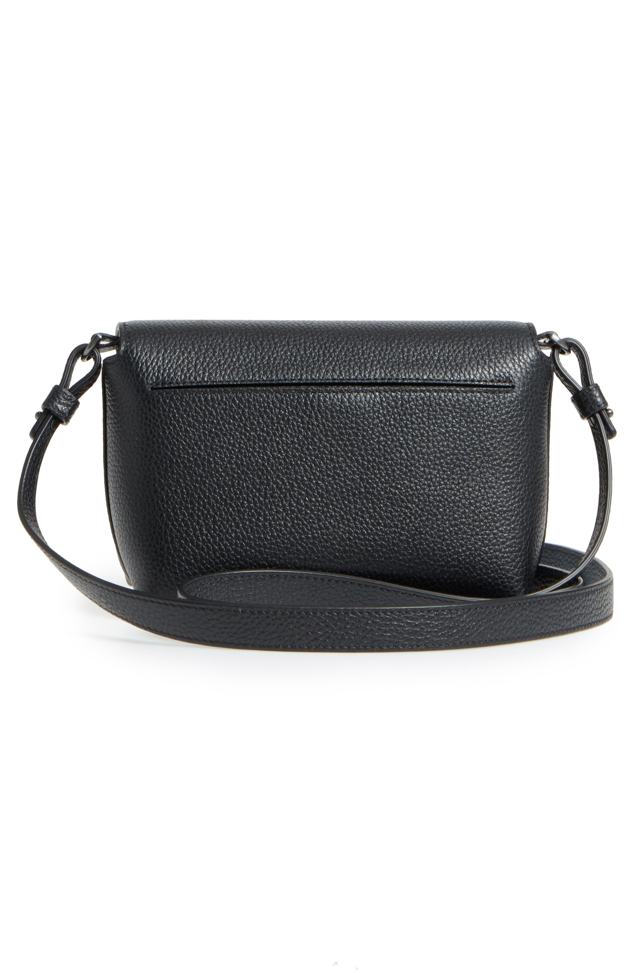Little Anouk Leather Crossbody Bag,                             Alternate thumbnail 3, color,                             009 BLACK
