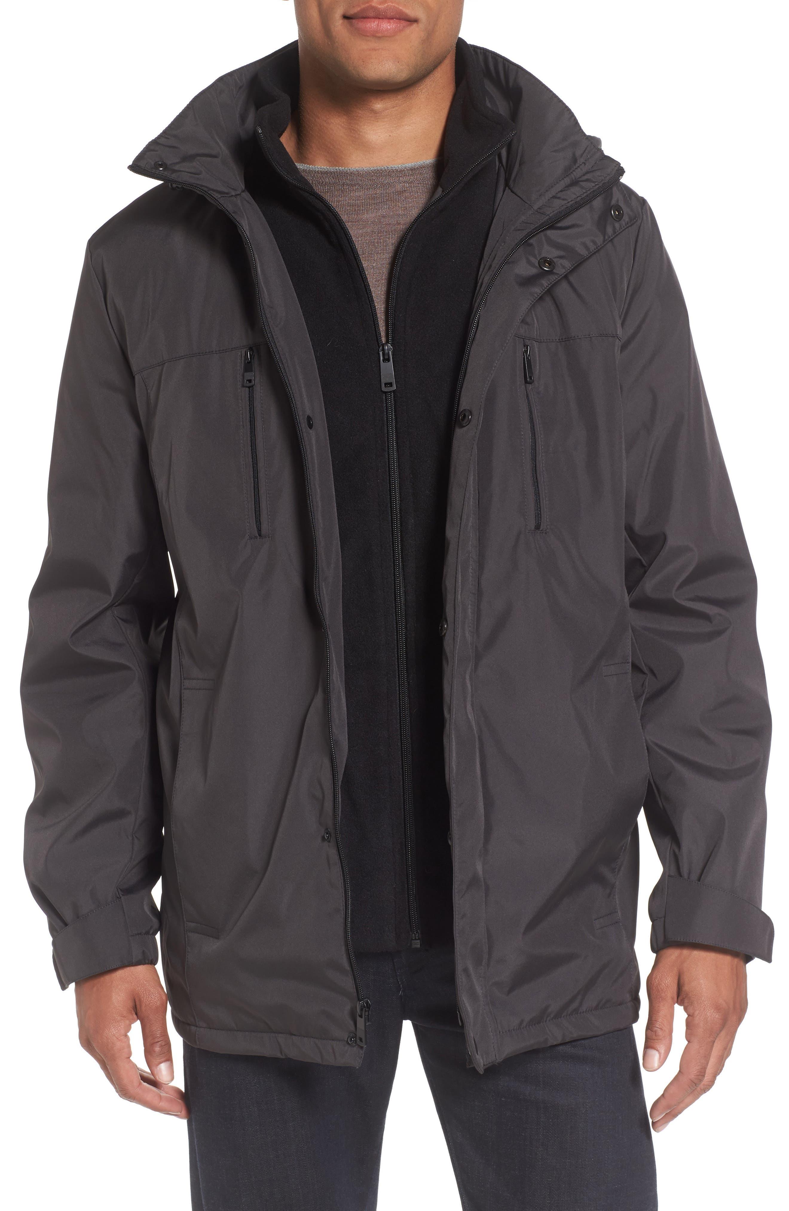 Hooded Jacket with Inset Fleece Bib,                             Main thumbnail 2, color,